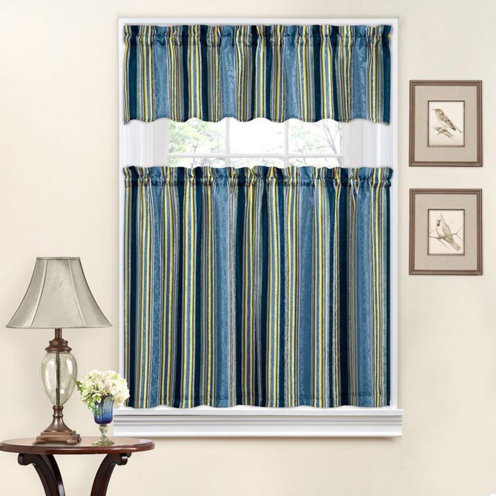 Traditionswaverly Stripe Ensemble Tier And Valance Set With Well Liked Floral Watercolor Semi Sheer Rod Pocket Kitchen Curtain Valance And Tiers Sets (View 18 of 20)