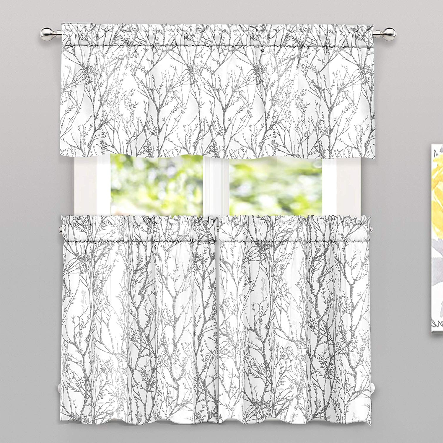 Tree Branch Valance And Tiers Sets Within Current Driftaway Tree Branch Botanical Pattern Semi Sheer 3 Pieces Kitchen Window Curtain Set With 2 Tiers And 1 Valance Bathroom Café Curtain Rod Pocket (View 6 of 20)