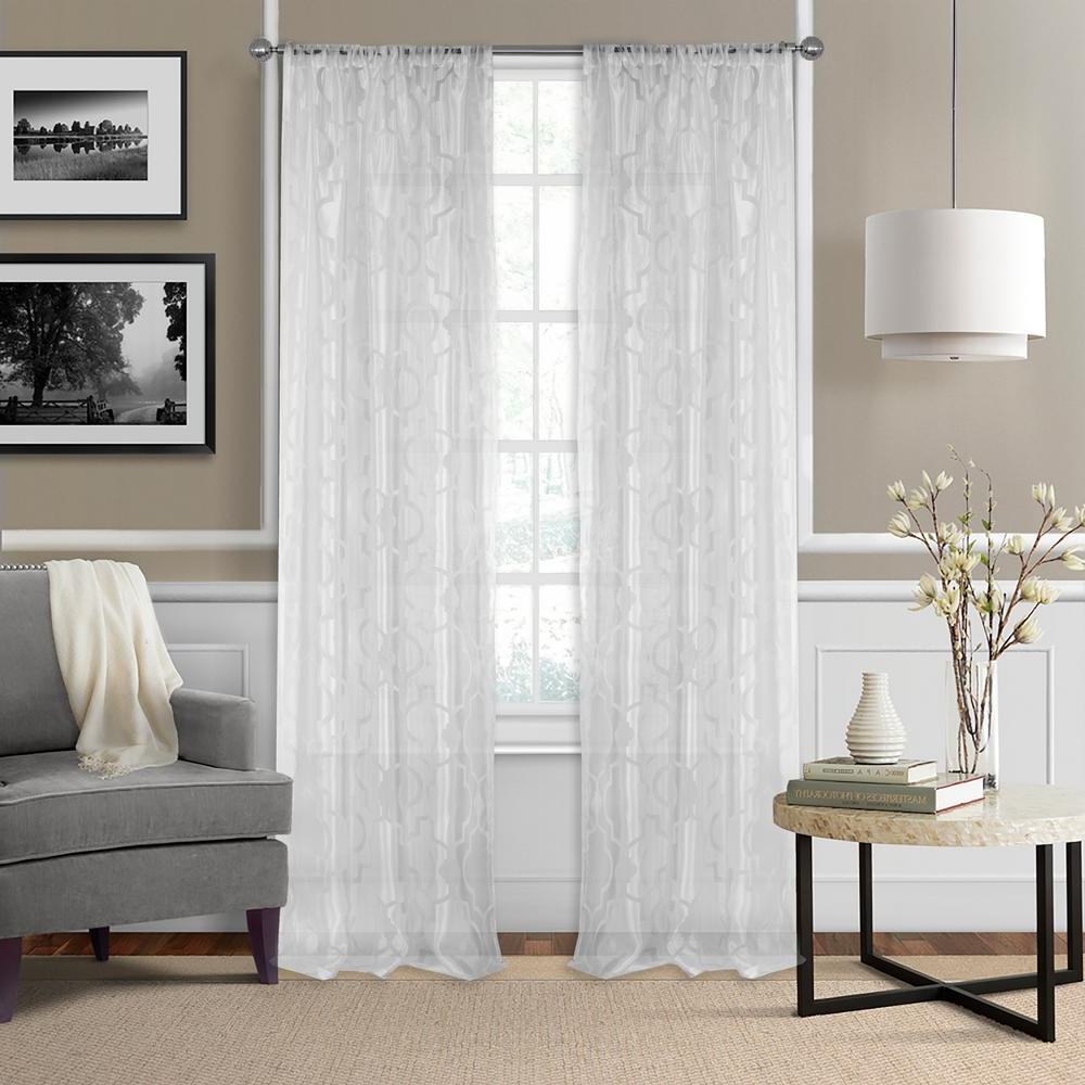 Trellis Pattern Window Valances In Fashionable Elrene Montego Burnout Trellis Sheer Window Curtain (View 15 of 20)