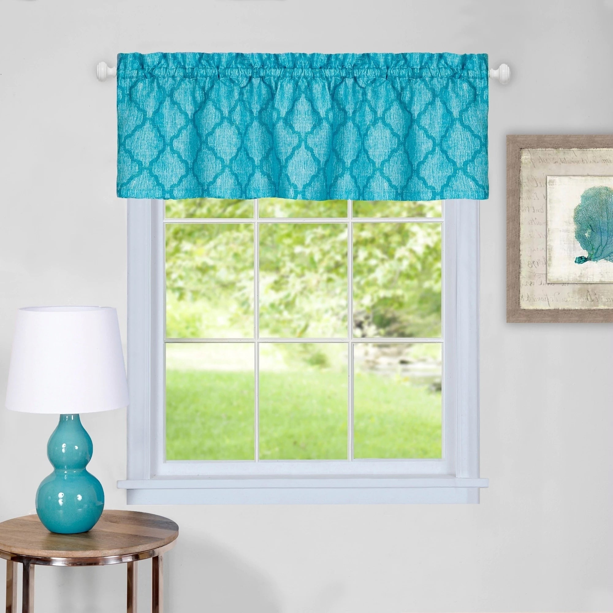 Trellis Pattern Window Valances Throughout Well Known Trellis Pattern Window Valance (turquoise) (View 8 of 20)