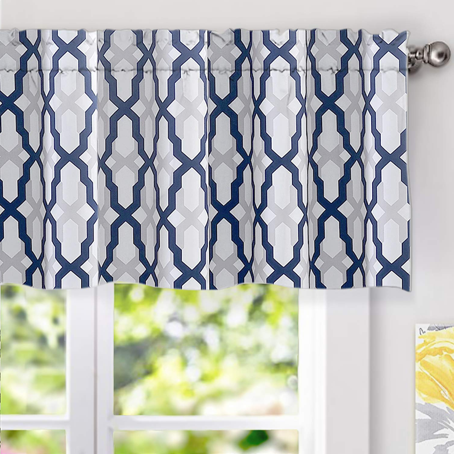 Trellis Pattern Window Valances With Regard To Popular Driftaway Mason Geometric Trellis Pattern Window Curtain Valance Rod Pocket 52 Inch18 Inch Plus 2 Inch Header Navy (View 2 of 20)