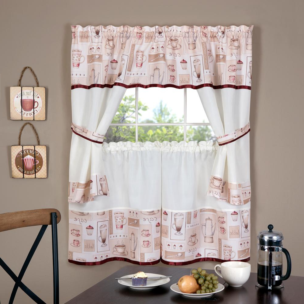 Trendy Achim Cappuccino Multicolor Polyester Embellished Tier, Valance And Swag  Set – 58 In. W X 36 In (View 17 of 20)
