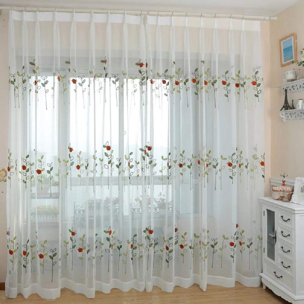Trendy Amazon: Suntown Home Decorations Grommet White Sheer Intended For Embroidered Ladybugs Window Curtain Pieces (View 2 of 20)