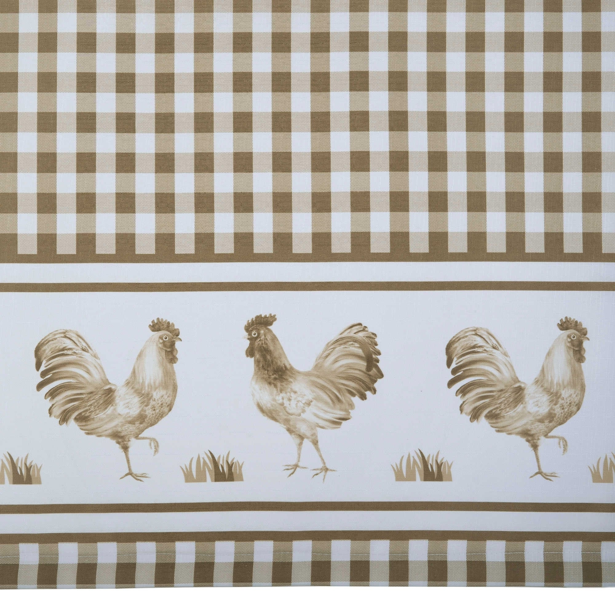 Trendy Barnyard Buffalo Check Rooster Window Valance (Taupe) Within Barnyard Buffalo Check Rooster Window Valances (View 19 of 20)