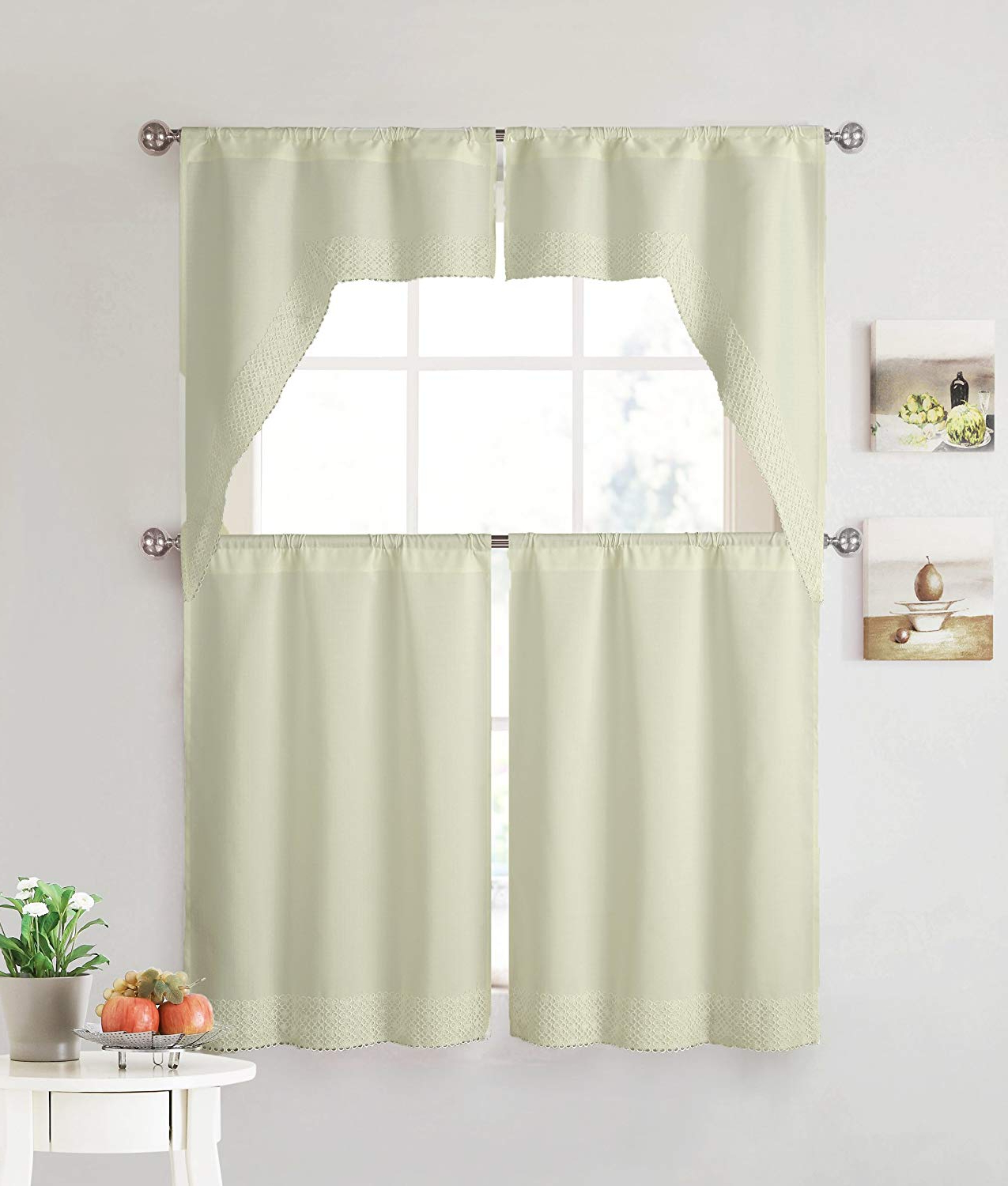 Trendy Beige 4 Piece Kitchen Window Curtain Set: Lace Border, 2 Swag And 2 Tier Panels (beige) Throughout Cotton Lace 5 Piece Window Tier And Swag Sets (View 8 of 20)