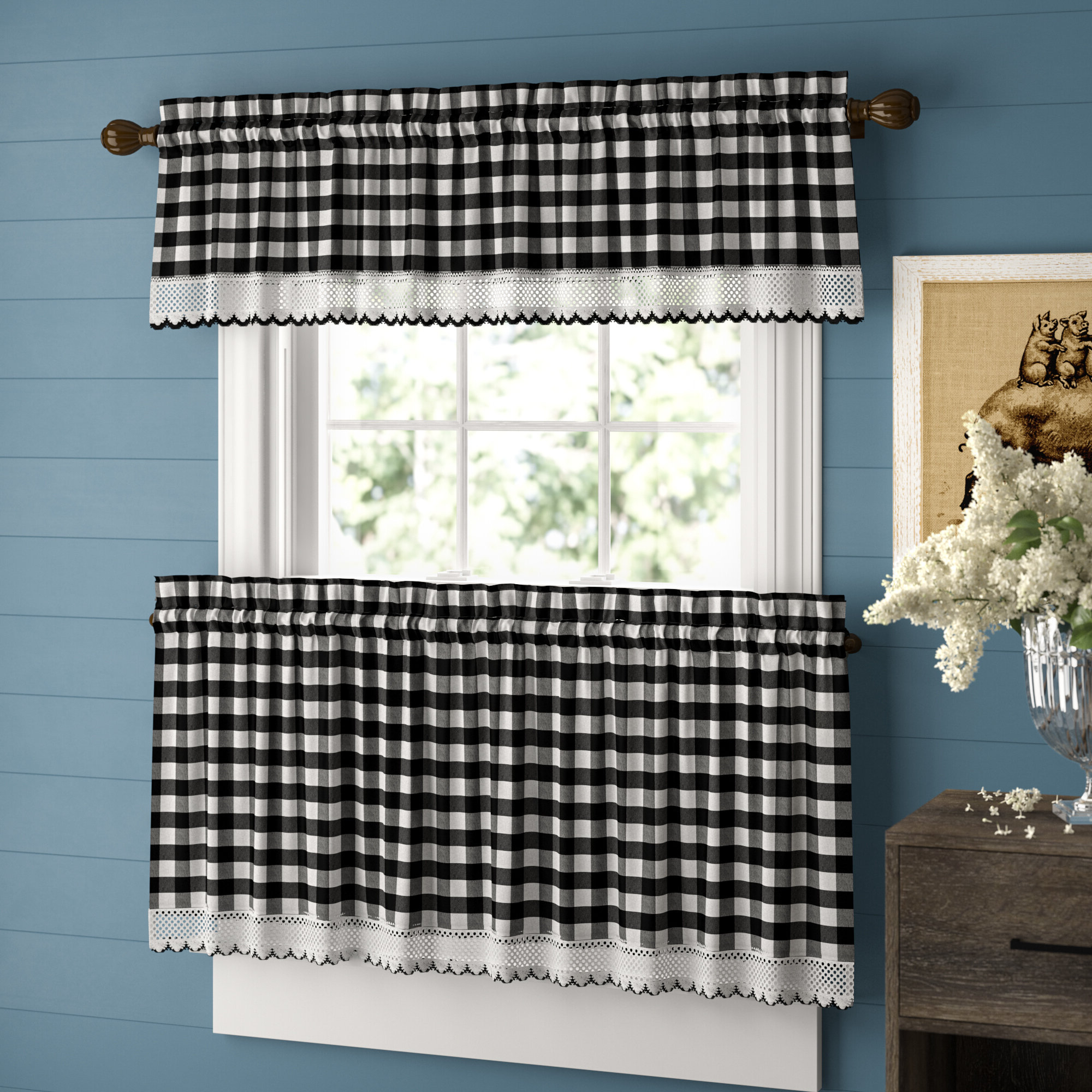 Trendy Classic Navy Cotton Blend Buffalo Check Kitchen Curtain Sets Throughout Bellair Country Plaid Complete 3 Piece Tier & Valance Kitchen Curtain (View 20 of 20)