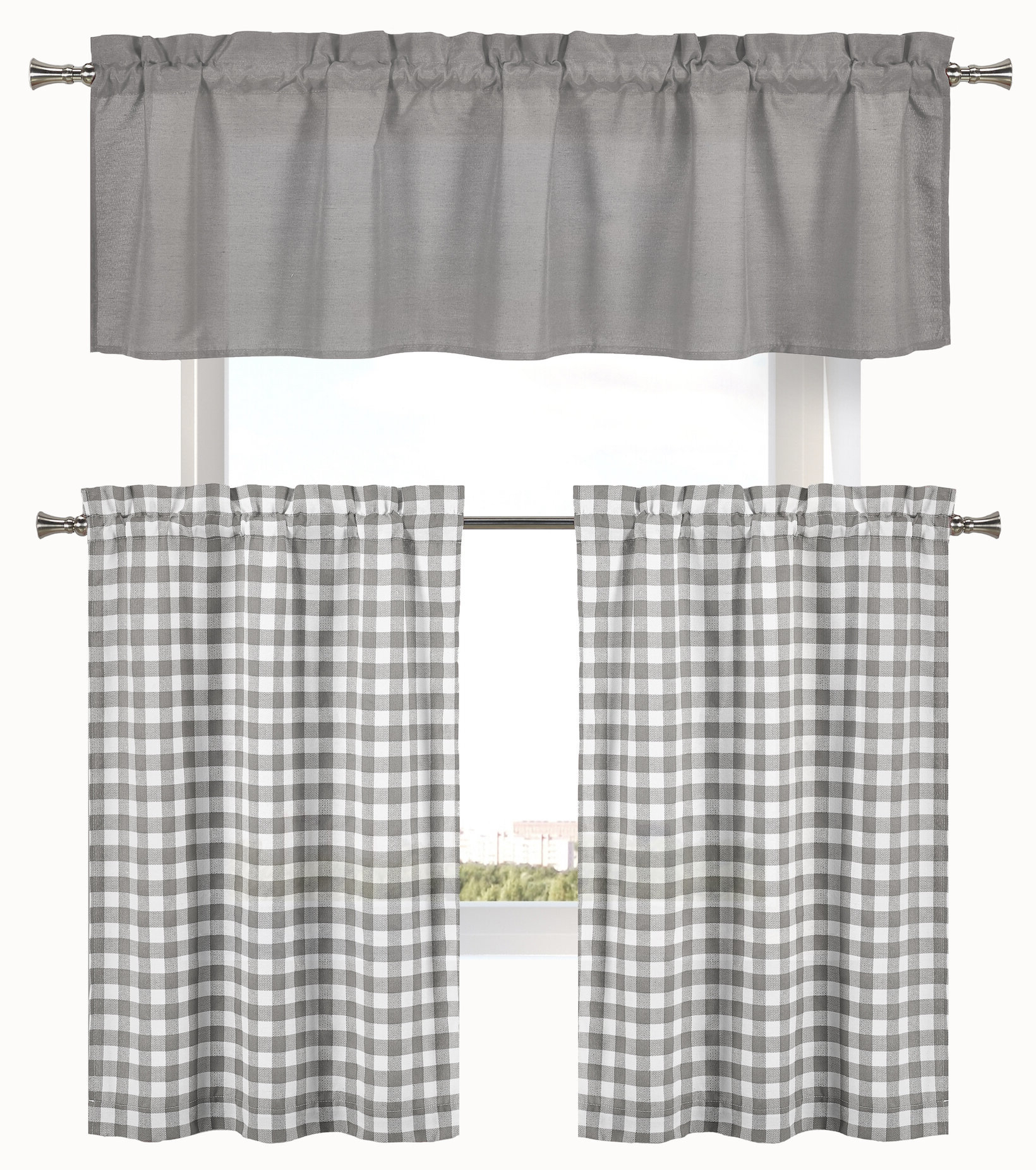 """Trendy Cosima 3 Piece Complete Plaid Country 58"""" Kitchen Curtain Set With Regard To Lodge Plaid 3 Piece Kitchen Curtain Tier And Valance Sets (View 8 of 20)"""