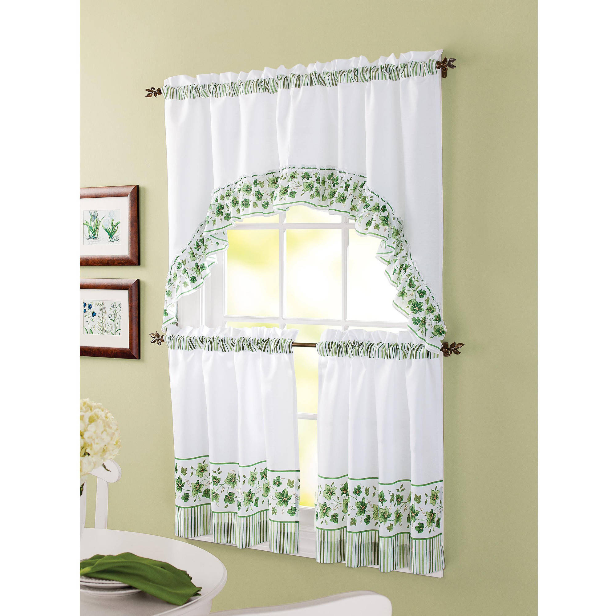 Trendy Cotton Blend Ivy Floral Tier Curtain And Swag Sets In Better Homes & Gardens Ivy Kitchen Curtain Set (View 17 of 20)