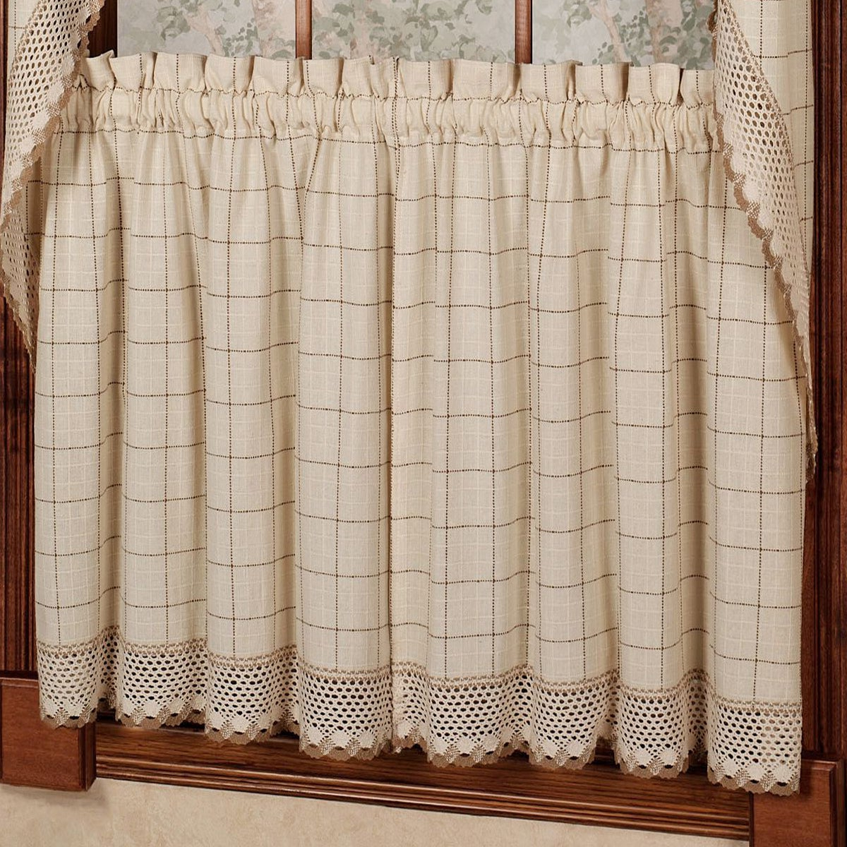 Trendy Cotton Classic Toast Window Pane Pattern And Crotchet Trim Tiers, Swags And Valance Options In Cotton Lace 5 Piece Window Tier And Swag Sets (View 11 of 20)