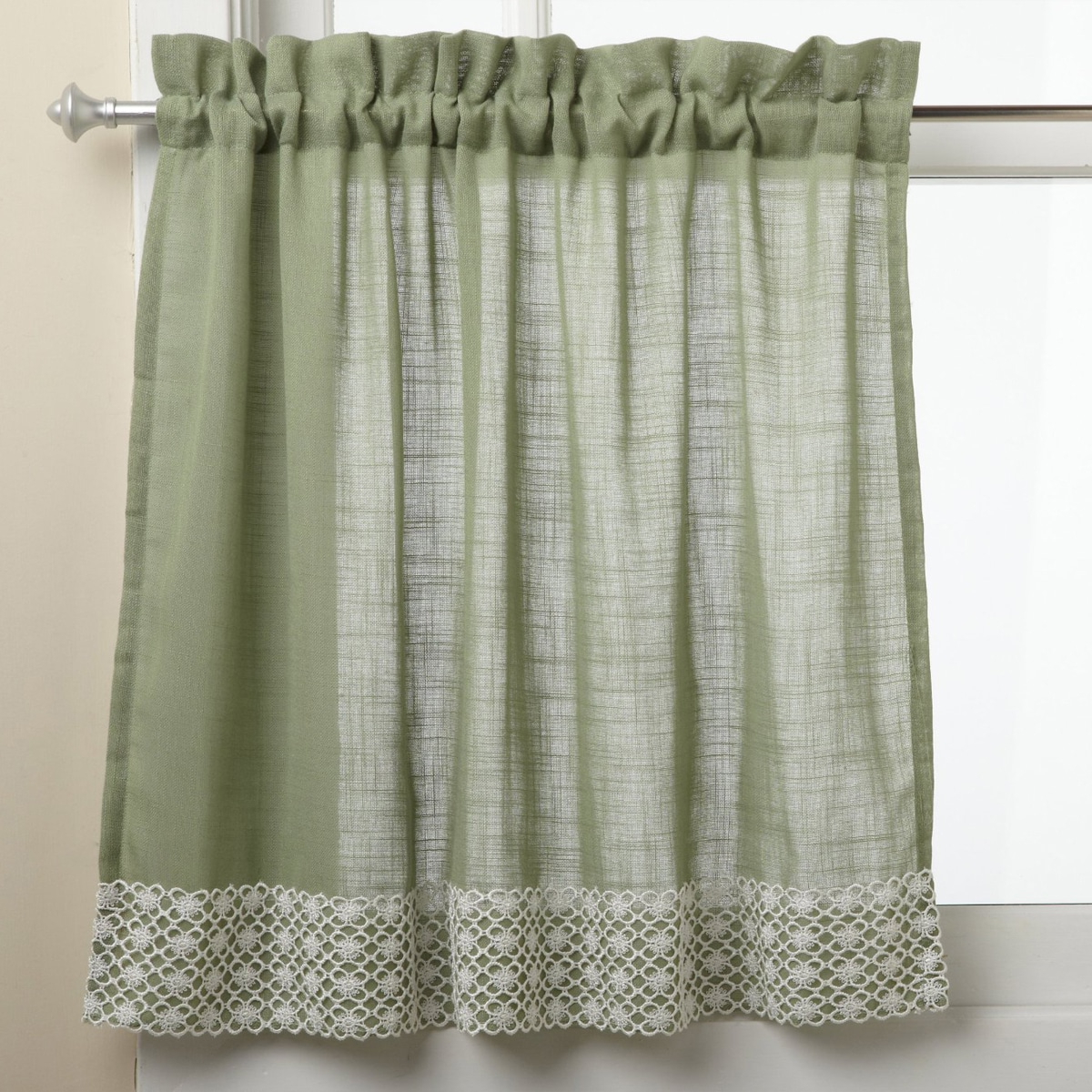 Trendy Country Style Curtain Parts With White Daisy Lace Accent With Sweet Home Collection Sage Country Style White Daisy Lace (View 4 of 20)
