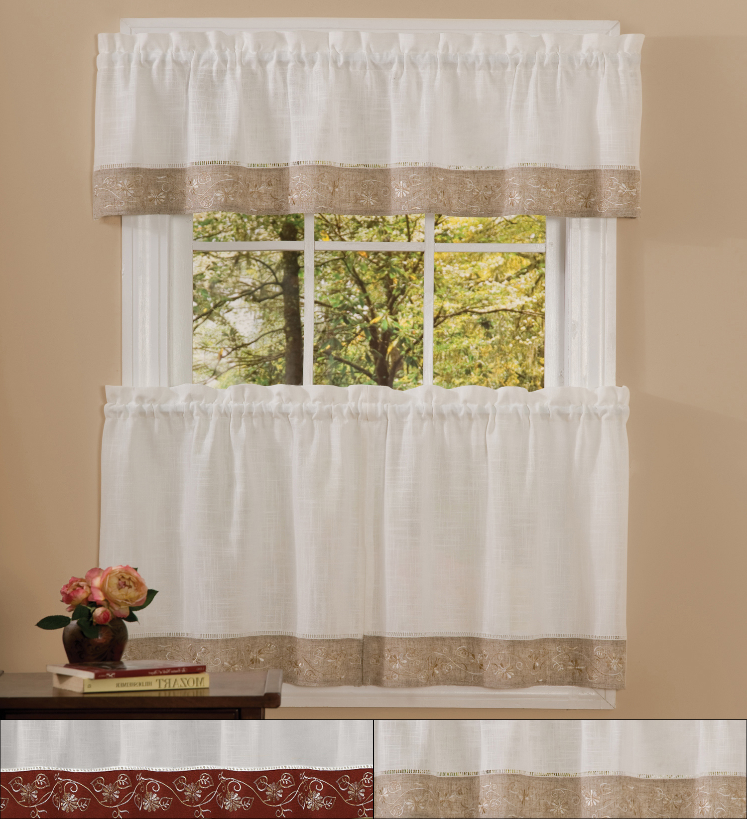 """Trendy Details About Oakwood Linen Style Kitchen Window Curtain 24"""" Tiers & Valance Set With Regard To Floral Lace Rod Pocket Kitchen Curtain Valance And Tiers Sets (View 10 of 20)"""