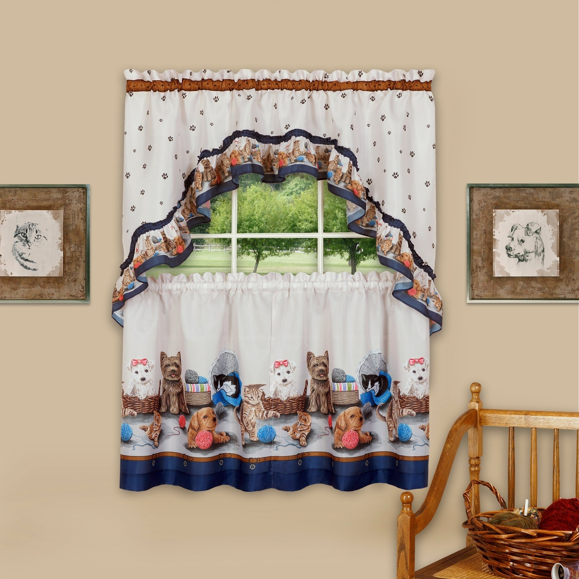 Trendy Details About Precious Printed Tier And Swag Window Curtain Set With Regard To Cotton Blend Ivy Floral Tier Curtain And Swag Sets (View 2 of 20)
