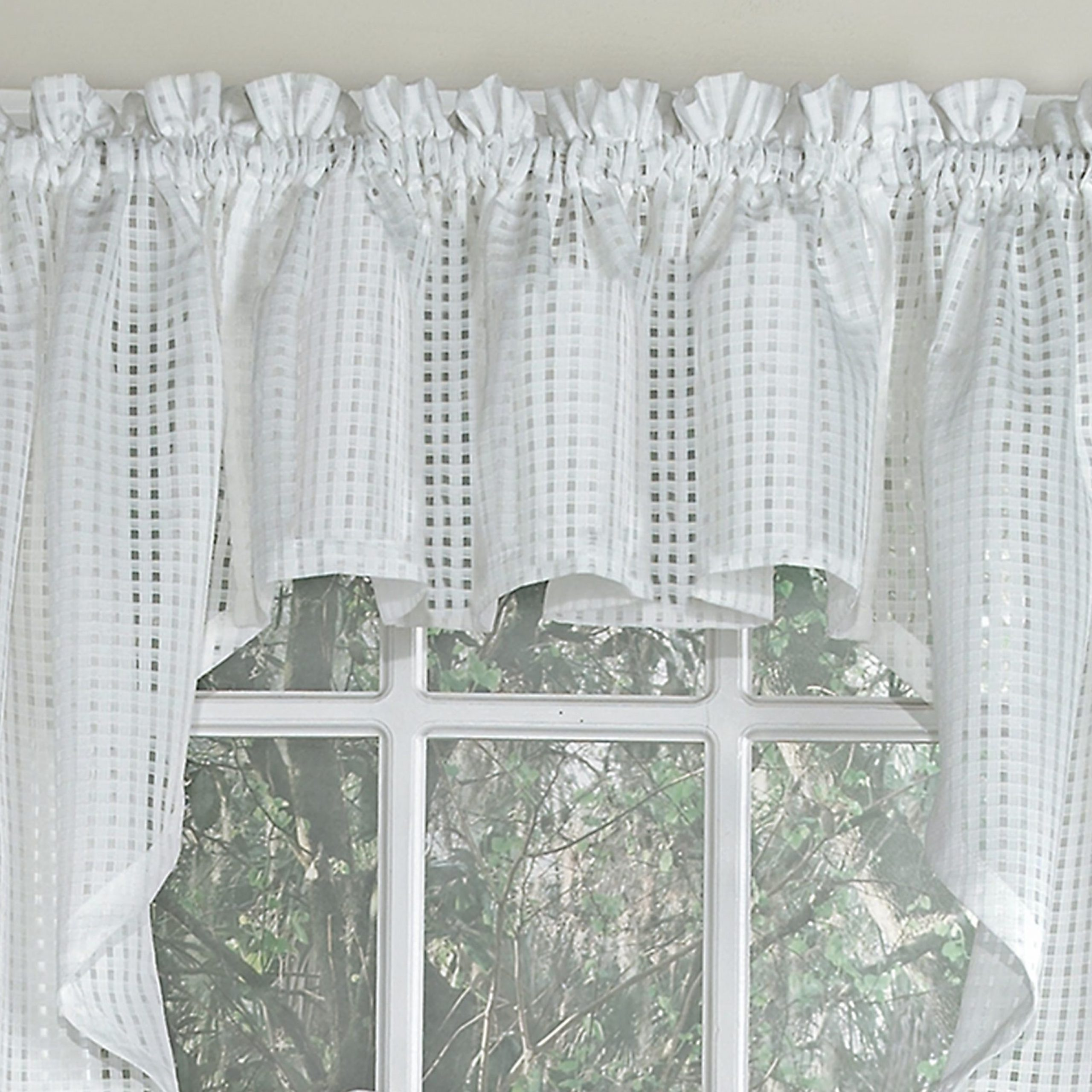 """Trendy Emberly Traditional Elegance 56"""" Cafe Curtain For White Tone On Tone Raised Microcheck Semisheer Window Curtain Pieces (View 8 of 20)"""