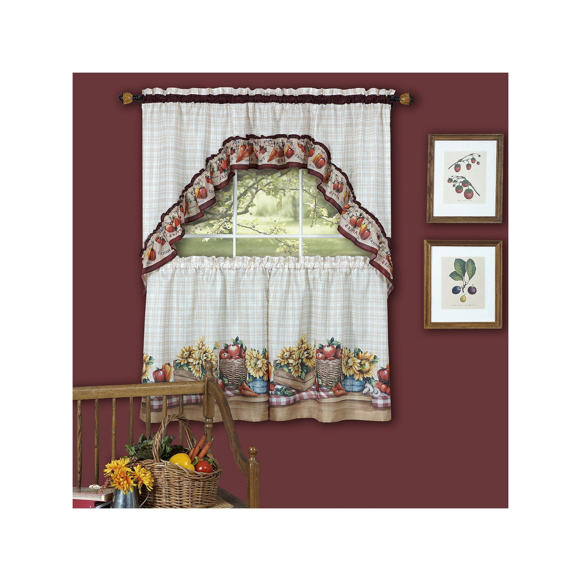 Trendy Farmer's Market 3 Piece Swag Tier Kitchen Window Curtain Set Intended For Window Curtains Sets With Colorful Marketplace Vegetable And Sunflower Print (View 4 of 20)