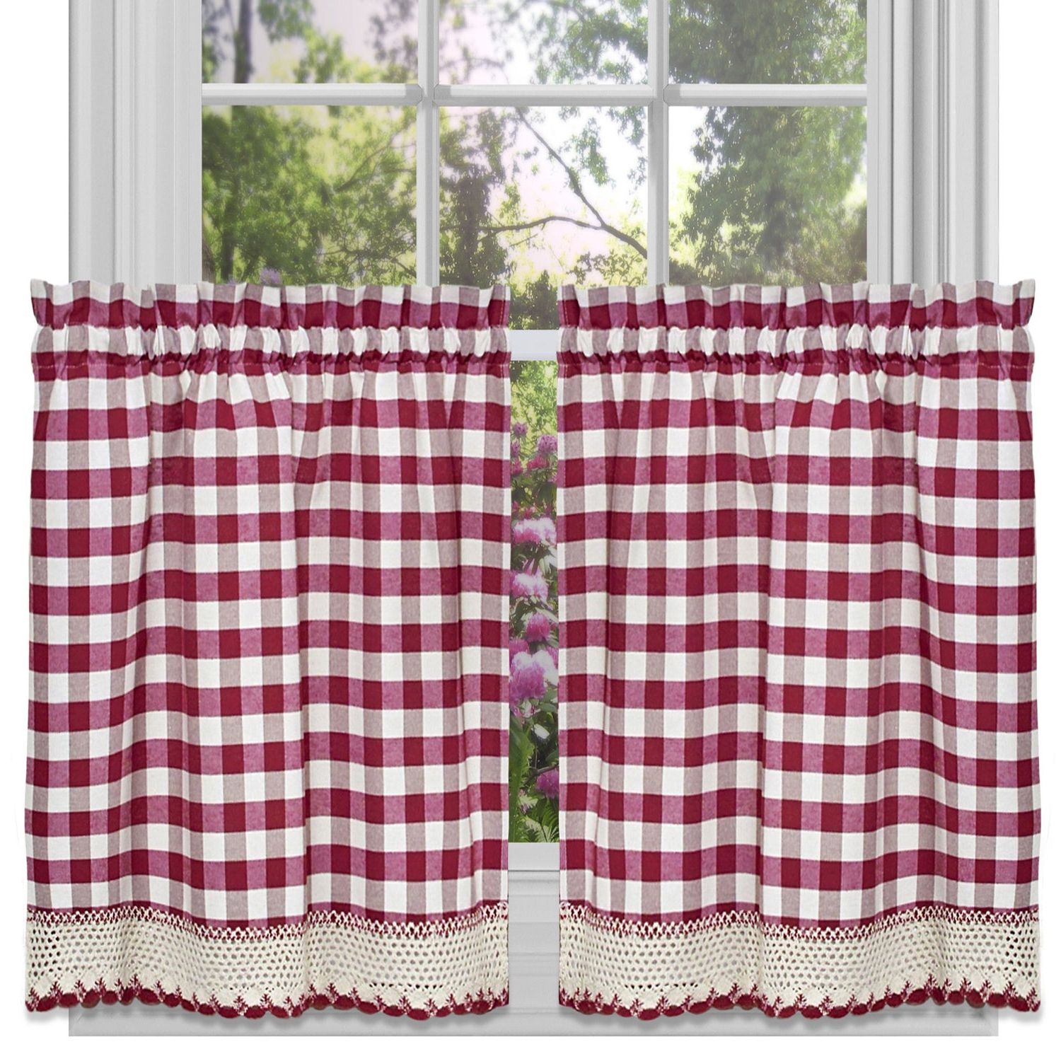 Trendy Kitchen Burgundy/white Curtain Sets Pertaining To Classic Buffalo Check Kitchen Burgundy/white Curtain Set Or Separates (View 3 of 20)