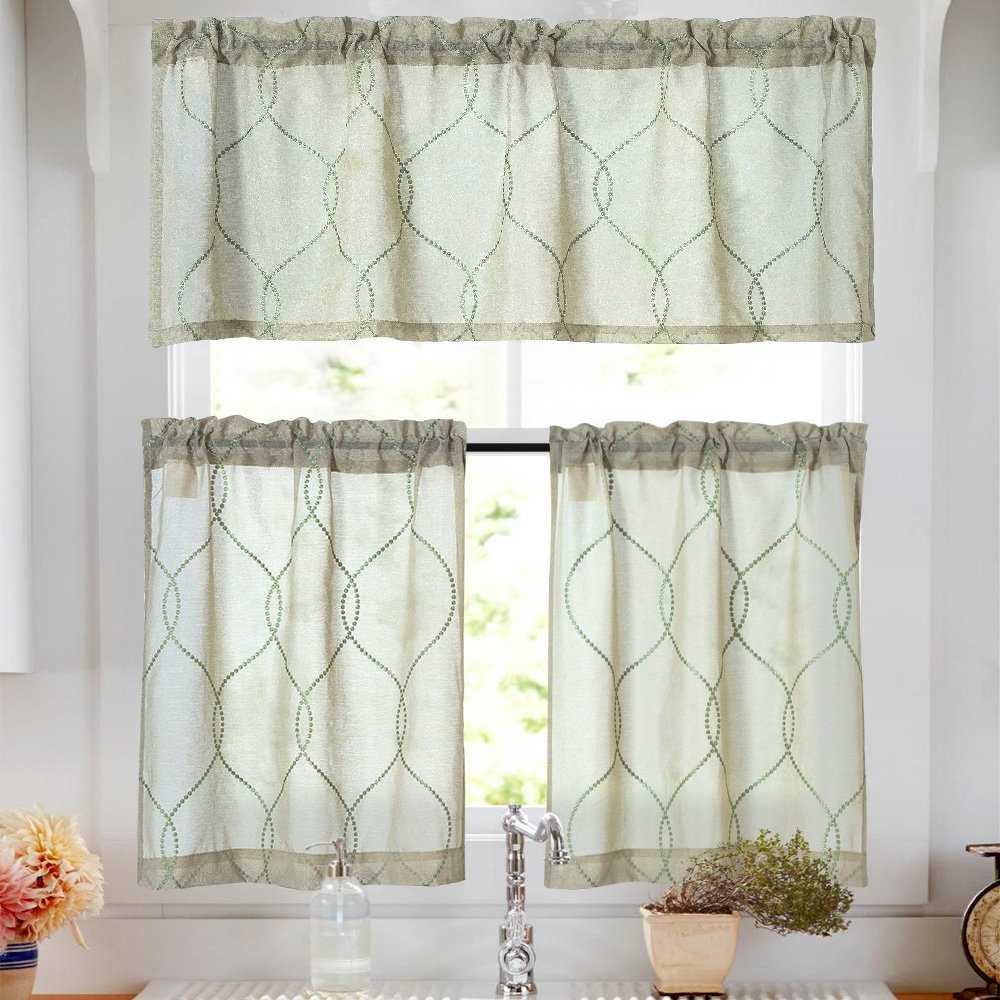 Trendy Kitchen Curtain Sets 24 Inch Sage 3 Pcs Moroccan Trellis Pattern  Embroidered Semi Sheer Kitchen Tier Curtains And Valance Set For Bathroom Within Semi Sheer Rod Pocket Kitchen Curtain Valance And Tiers Sets (View 17 of 20)