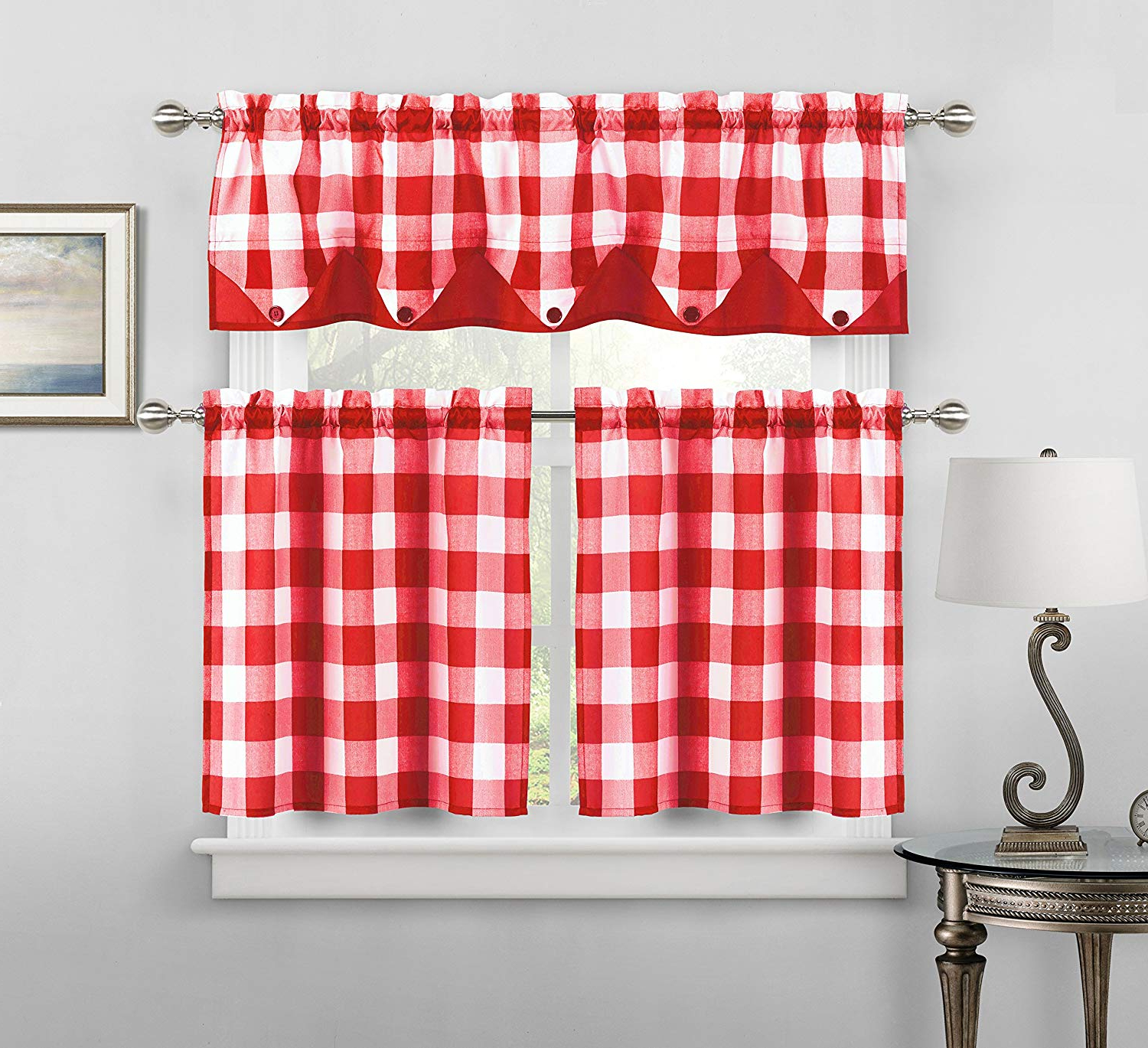 Trendy Kitchen Window Tier Sets Throughout Amazon: Home Maison Kingdy Checkered Kitchen Window (View 17 of 20)