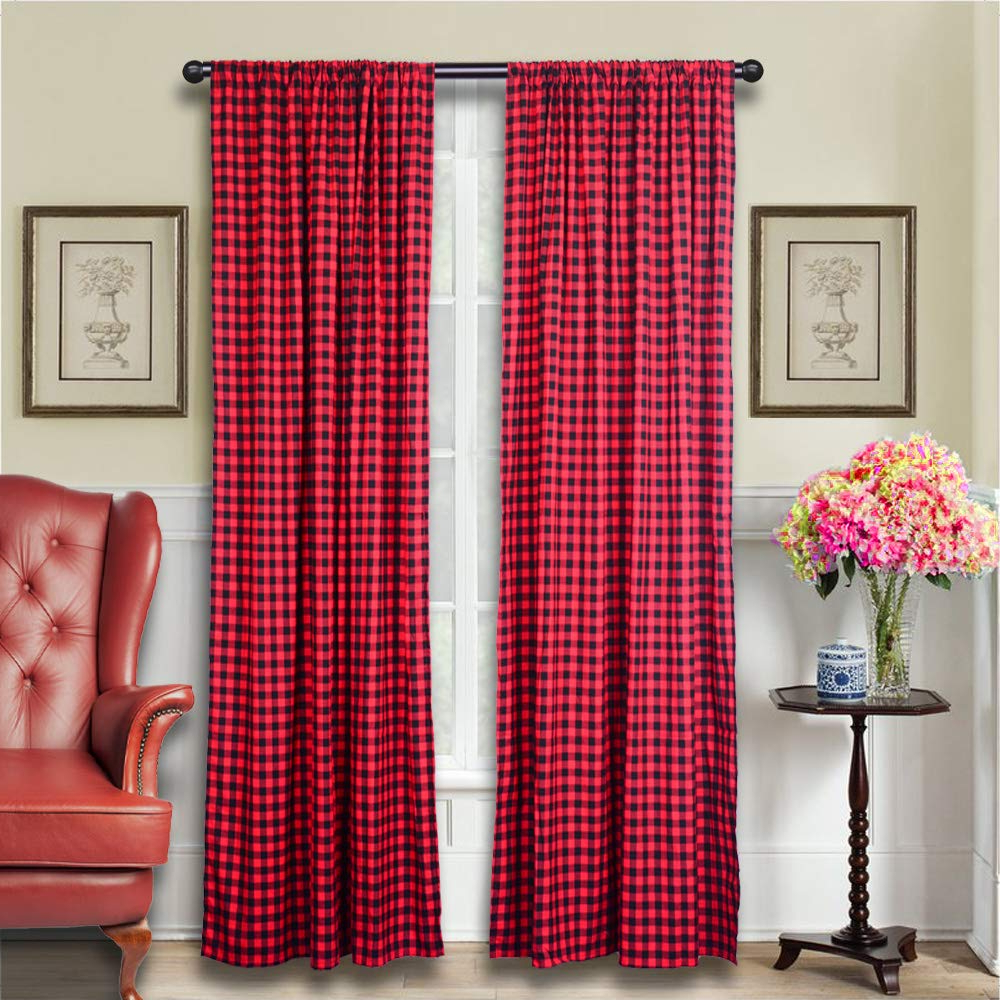 Trendy Lghome Buffalo Check Window Curtains, Window Treatments, Buffalo Plaid Panels, Black And Red, Pack Of 2, 53x96inch, Christmas, Thanksgiving, Kitchen Throughout Cotton Blend Classic Checkered Decorative Window Curtains (View 9 of 20)