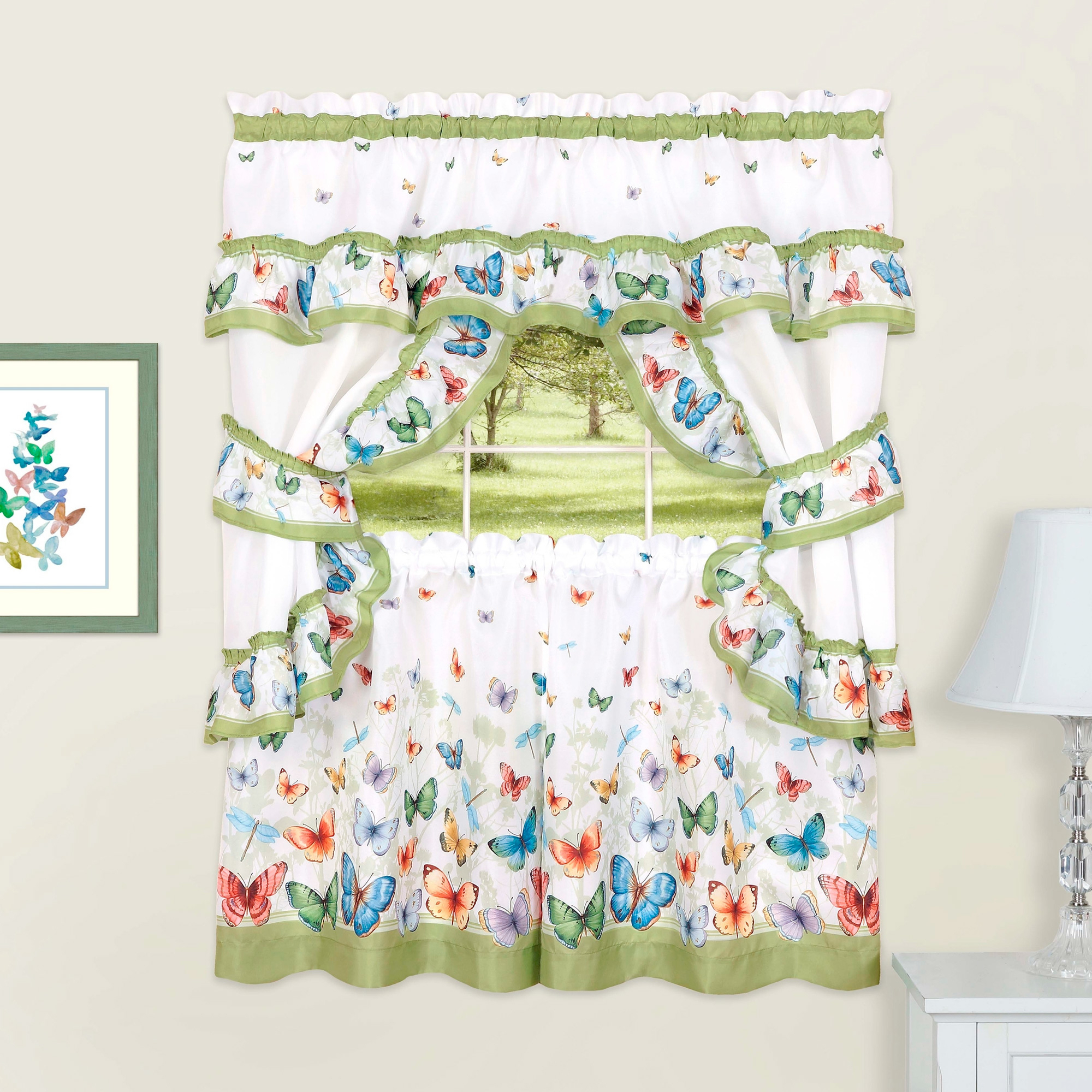"Trendy Multicolored Printed Curtain Tier And Swag Sets Inside Details About Butterflies Printed Kitchen Curtain Cottage Set Swag Tiers &  Tiebacks 24"" Green (View 18 of 20)"