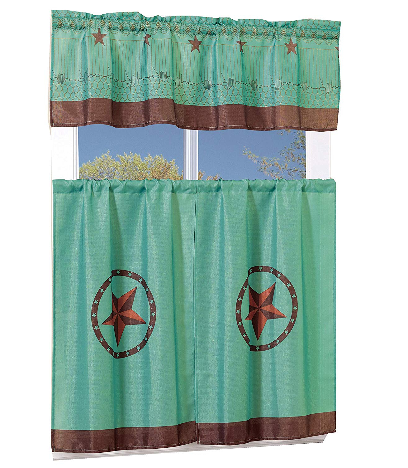 Trendy Red Delicious Apple 3 Piece Curtain Tiers Inside Details About Curtain Set 3 Piece Wester Texas Star Valance Kitchen Cafe Turquoise Home Decor (View 17 of 20)