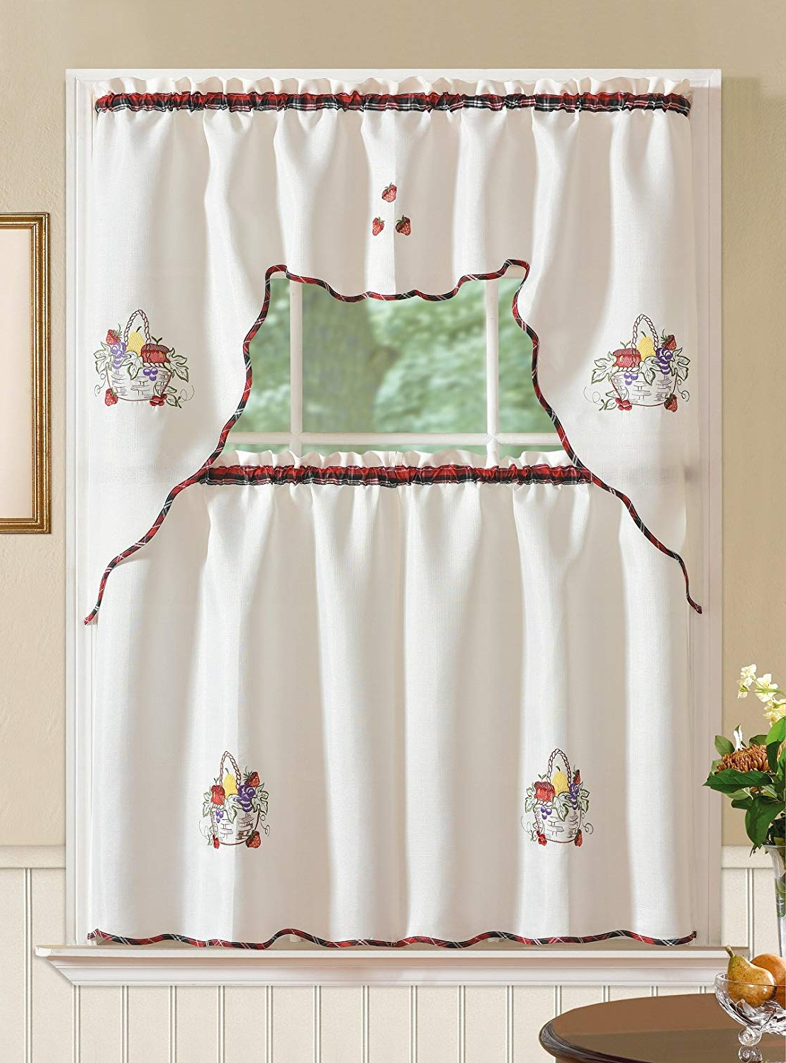 Trendy Rt Designers Collection Imperial Jacquard Kitchen Curtain Set, Coffee With Imperial Flower Jacquard Tier And Valance Kitchen Curtain Sets (View 2 of 20)