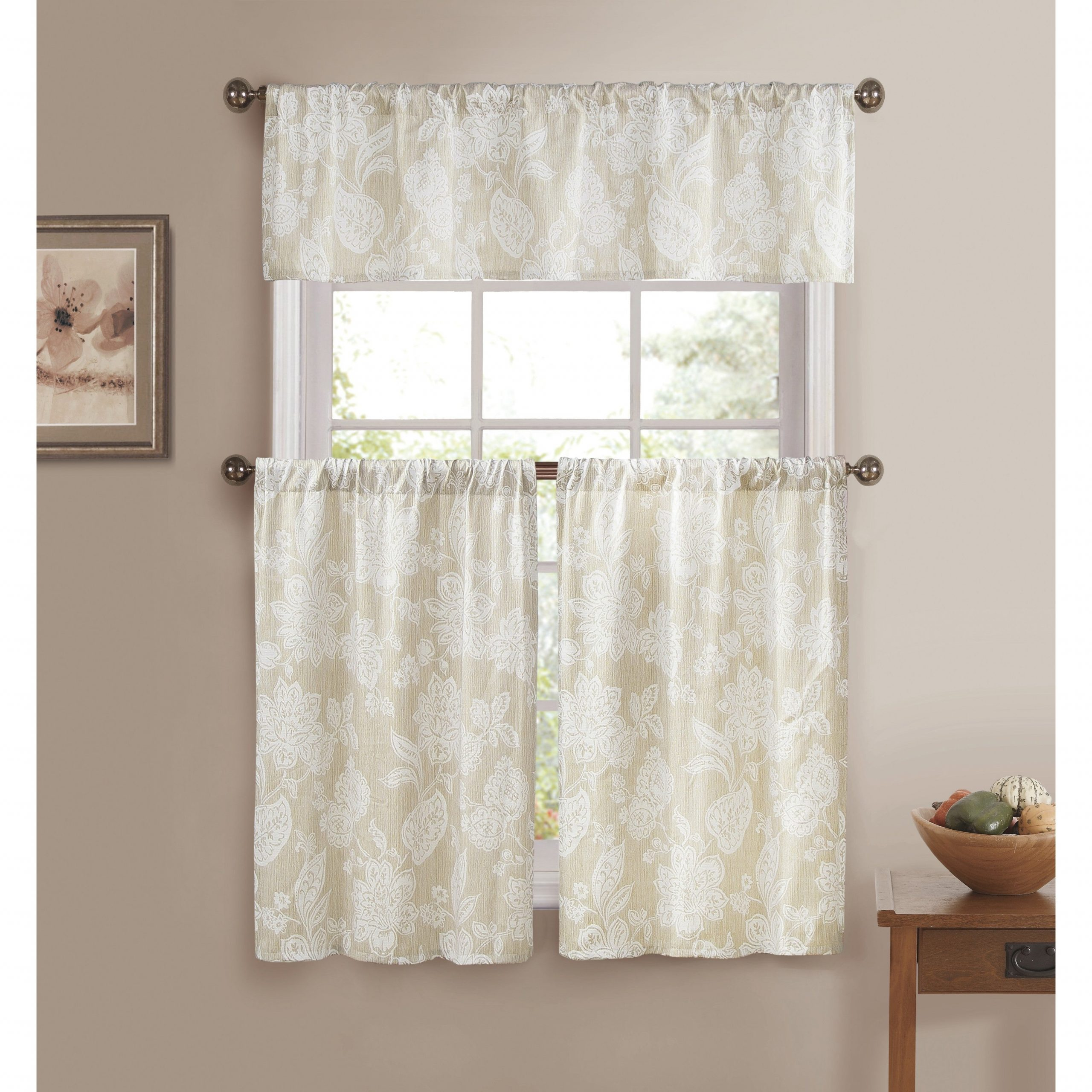 Trendy Scroll Leaf 3 Piece Curtain Tier And Valance Sets Regarding Ewva Linen Look 3 Piece Jacquard Pole Top Kitchen Curtain Set (View 19 of 20)