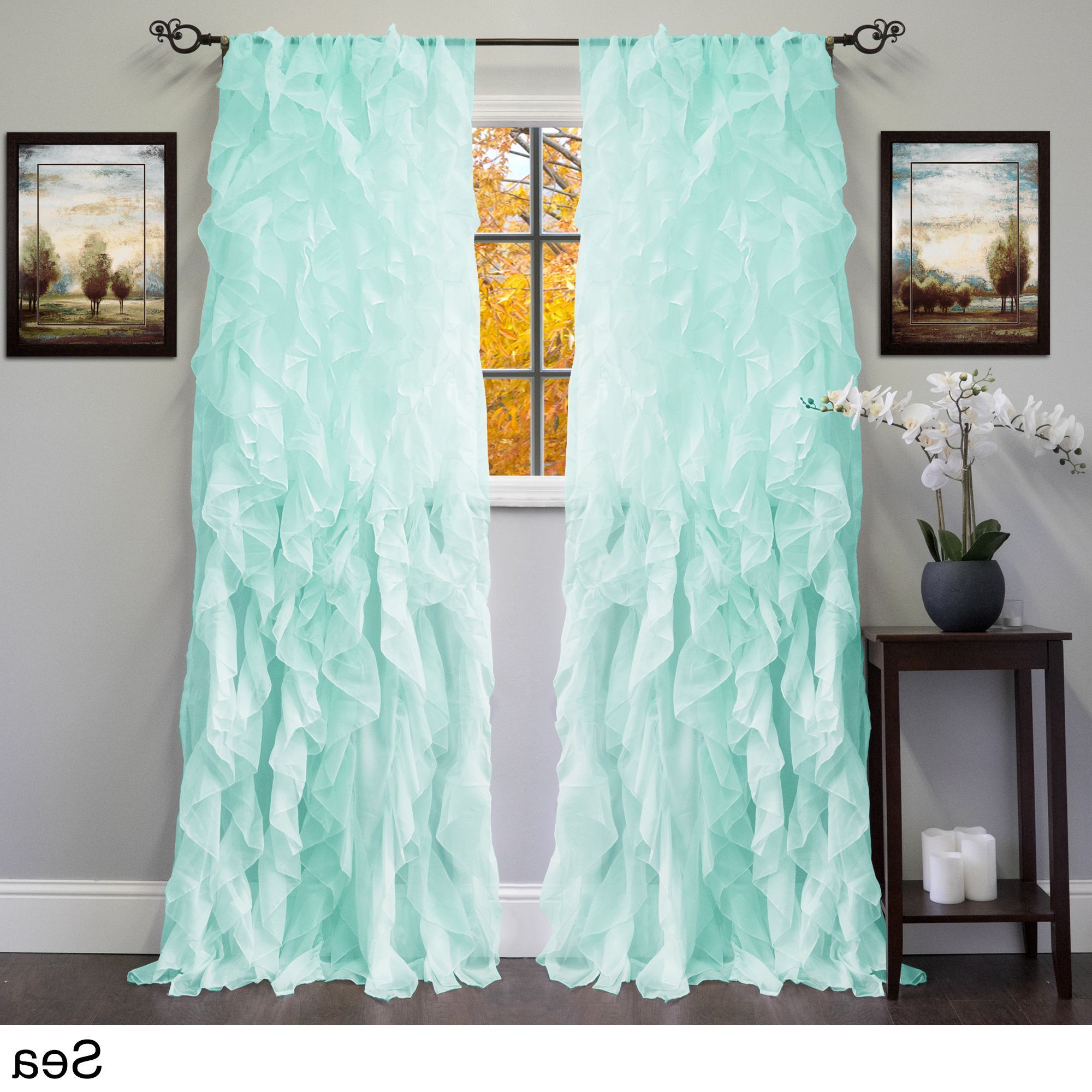 Trendy Silver Vertical Ruffled Waterfall Valance And Curtain Tiers In N Sheer Voile Ruffled Tier Window Curtain Panel (84, Panel (View 18 of 20)