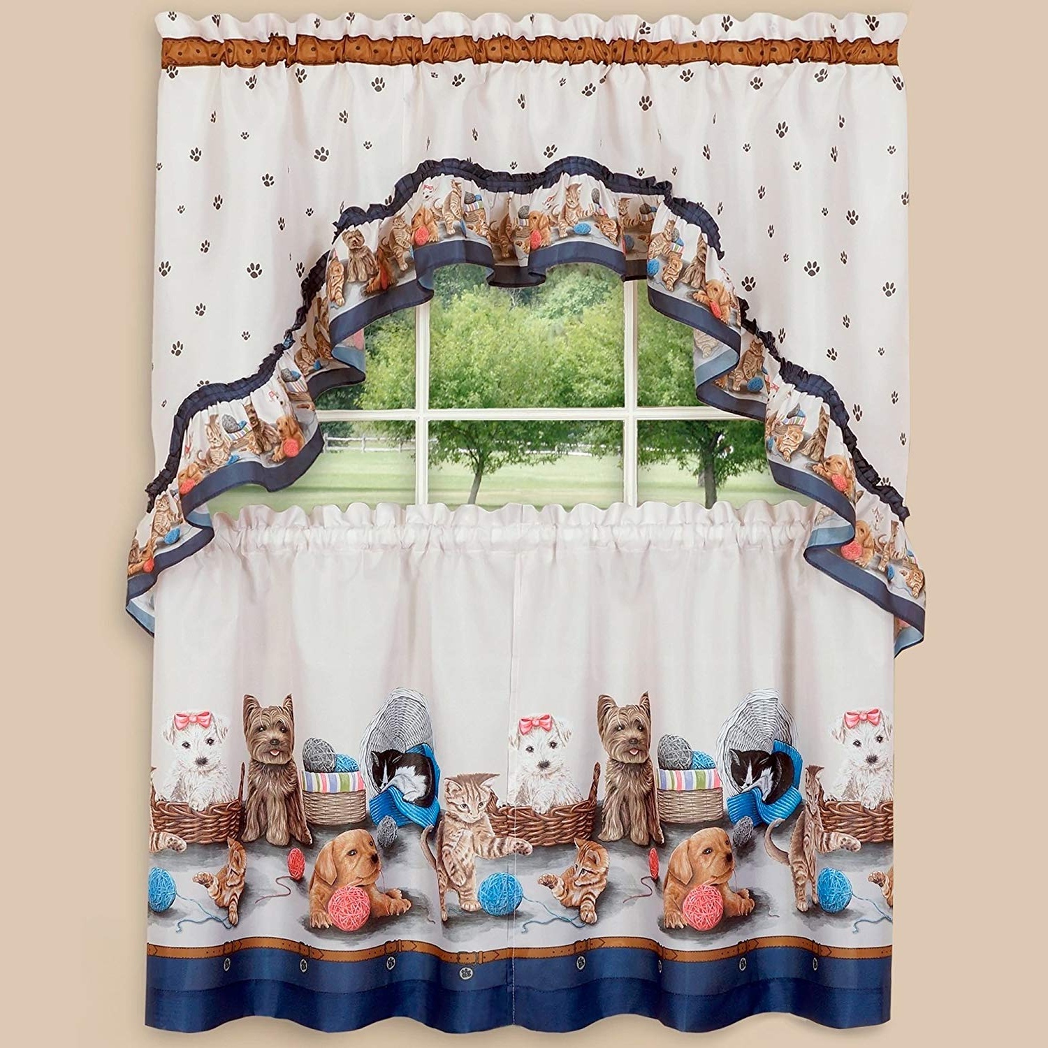 """Trendy Sweet Home Collection 3 Piece Kitchen Curtain Set Precious Pets Design With Tier Pair And Swag 36"""", Navy Inside Traditional Two Piece Tailored Tier And Valance Window Curtains (View 9 of 20)"""