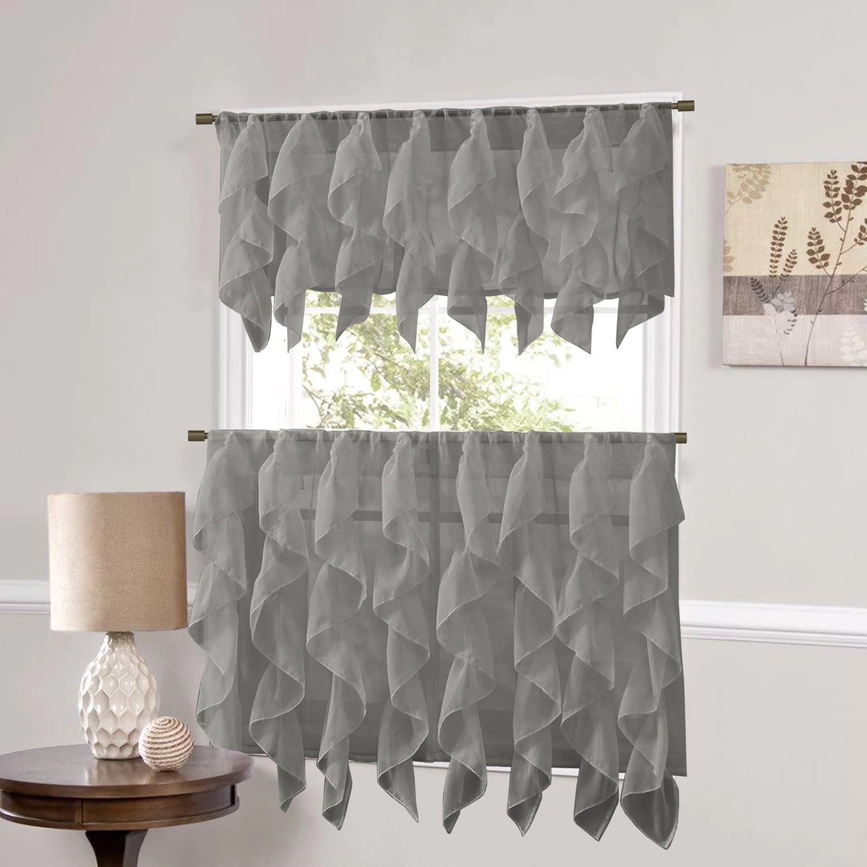 Trendy Sweet Home Collection Grey Vertical Ruffled Waterfall Valance And Curtain Tiers With Silver Vertical Ruffled Waterfall Valance And Curtain Tiers (View 6 of 20)