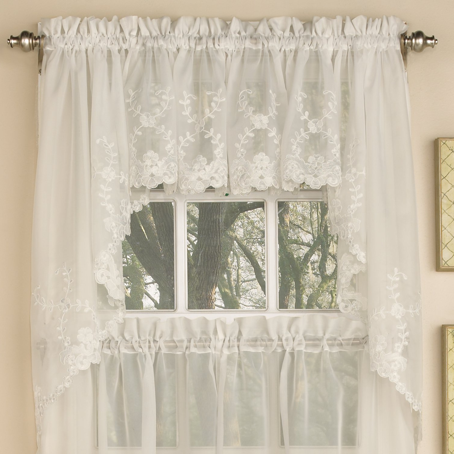 Trendy Sweet Home Collection Kitchen Window Tier, Swag, Or Valance Curtain Treatment In Stylish And Unique Patterns And Designs For All Home Décor, With Regard To Abby Embroidered 5 Piece Curtain Tier And Swag Sets (View 13 of 20)