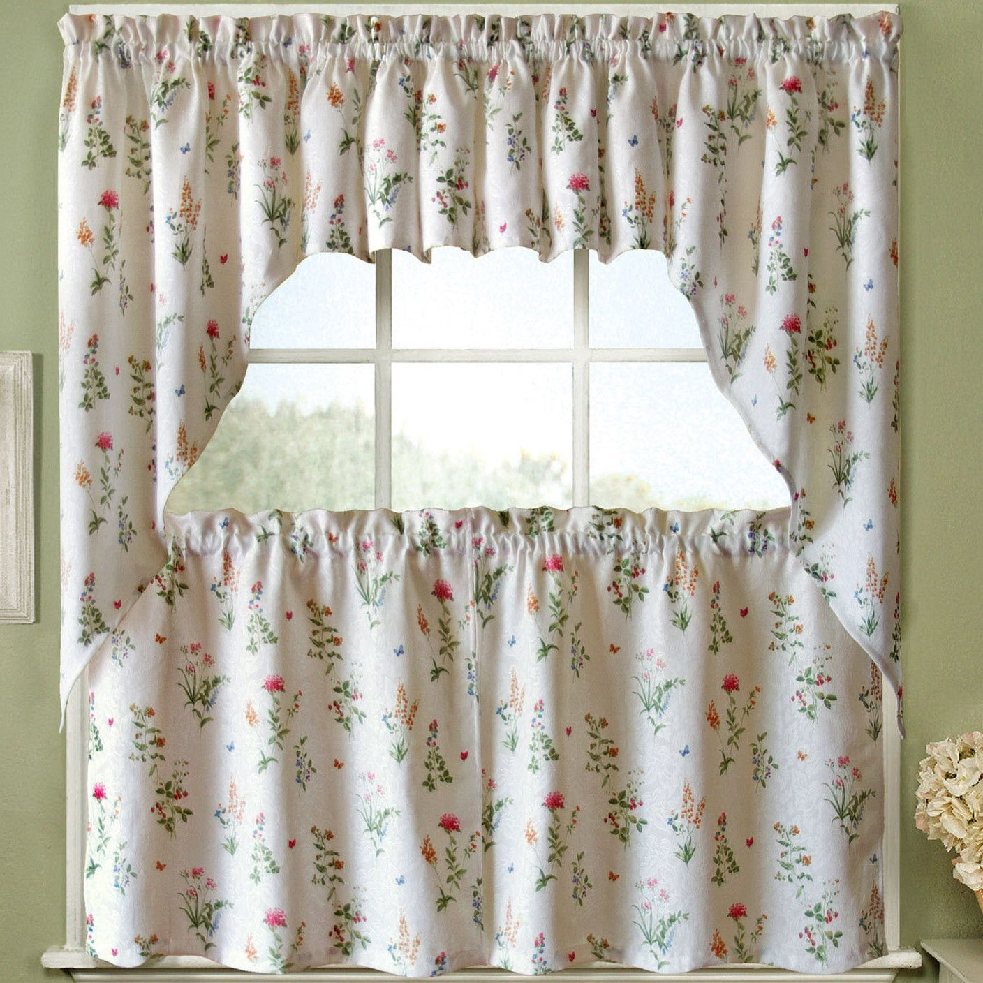 Trendy Tailored Valance And Tier Curtains With Regard To Features:  Set Includes 2 Curtain Panels.  Color: White And (Gallery 16 of 20)