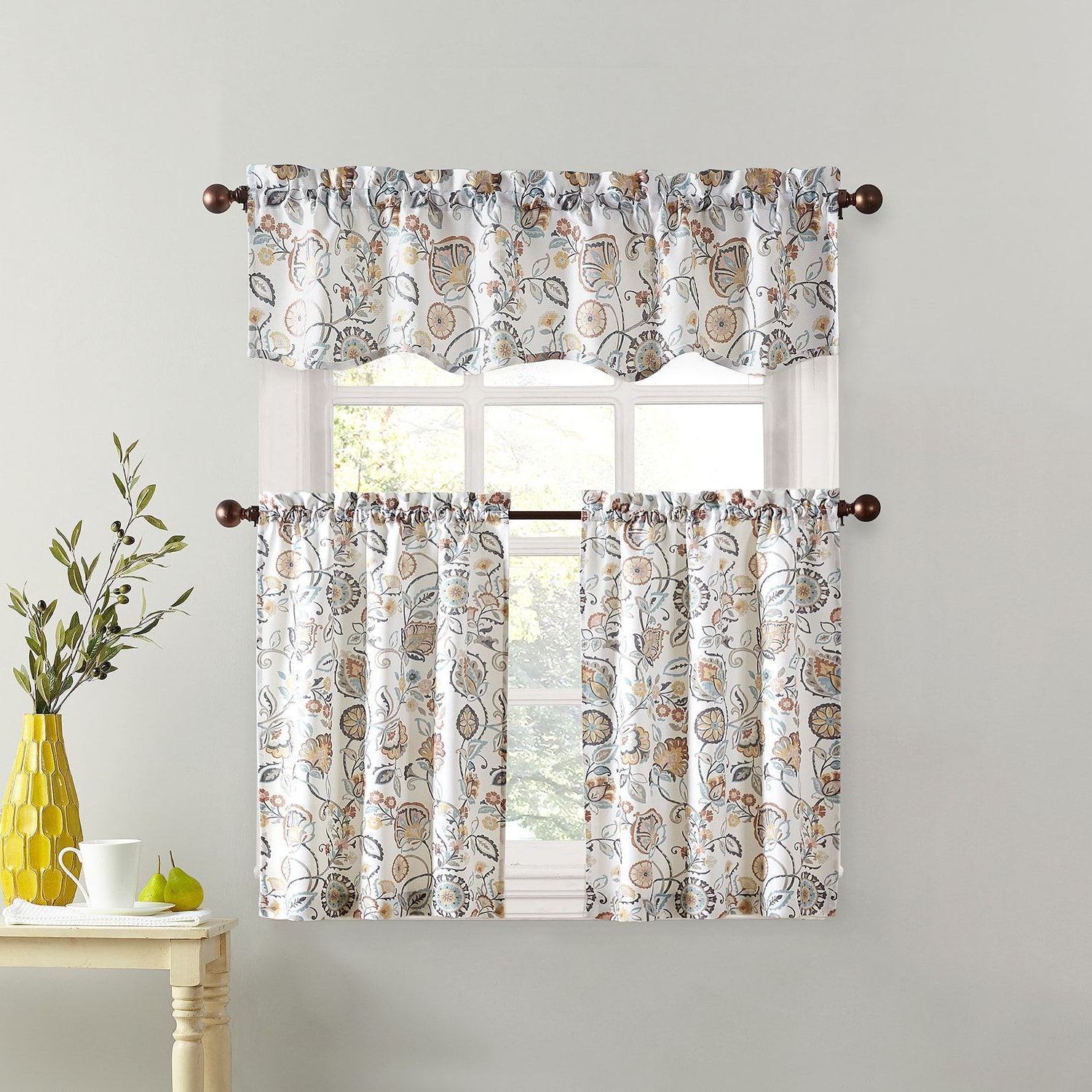 Trendy Top Of The Window Signy Light Filtering Tier Kitchen Window Inside Forest Valance And Tier Pair Curtains (View 8 of 20)