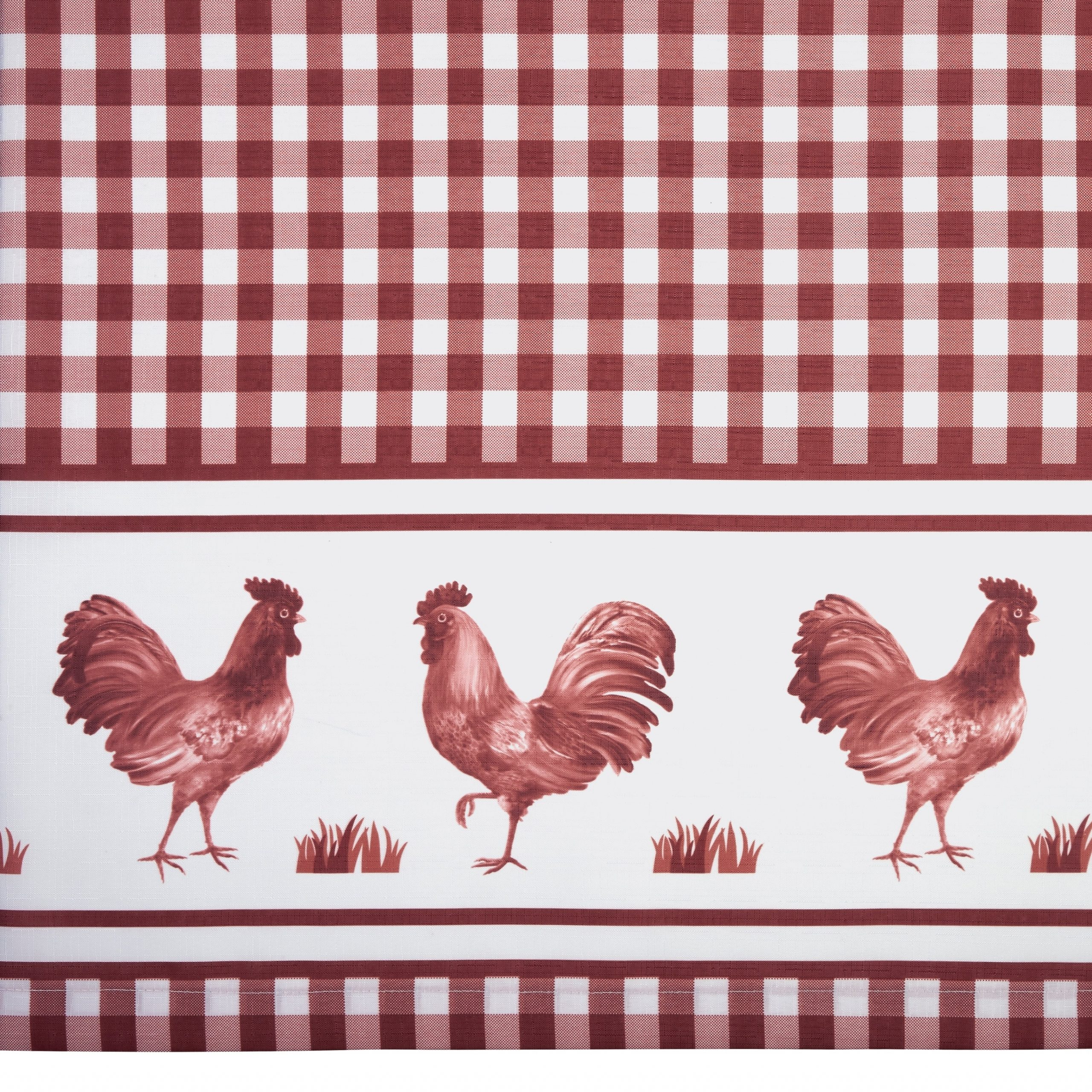 Trendy Traditional Two Piece Tailored Tier And Swag Window Curtains Sets With Ornate Rooster Print Intended For Barnyard Window Curtain Tier Pair And Valance Set (View 18 of 20)