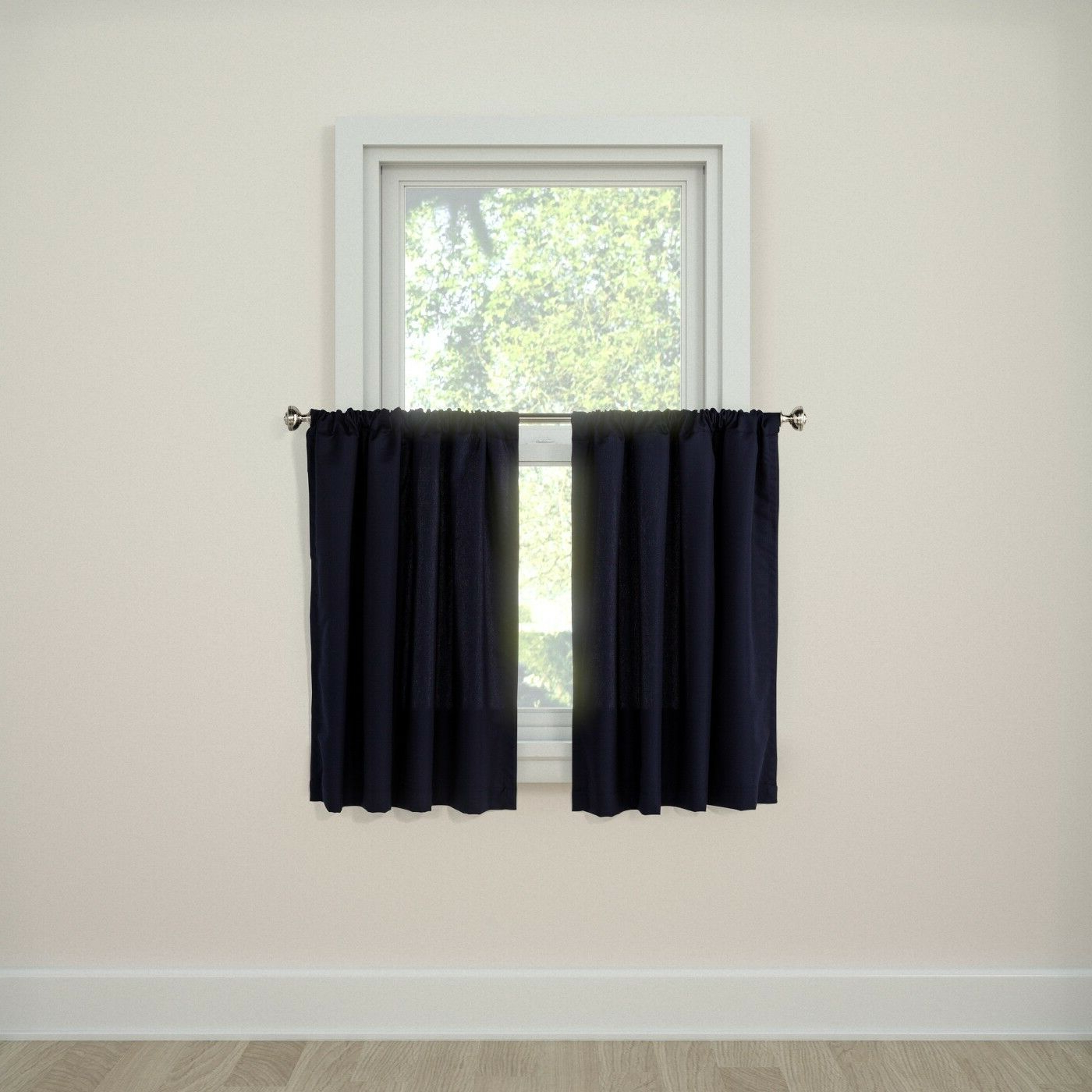 "Trendy Twill 3 Piece Kitchen Curtain Tier Sets In Details About New Twill Café Curtain Tiers (36""x42"") – Room Essentials Navy Blue (View 18 of 20)"