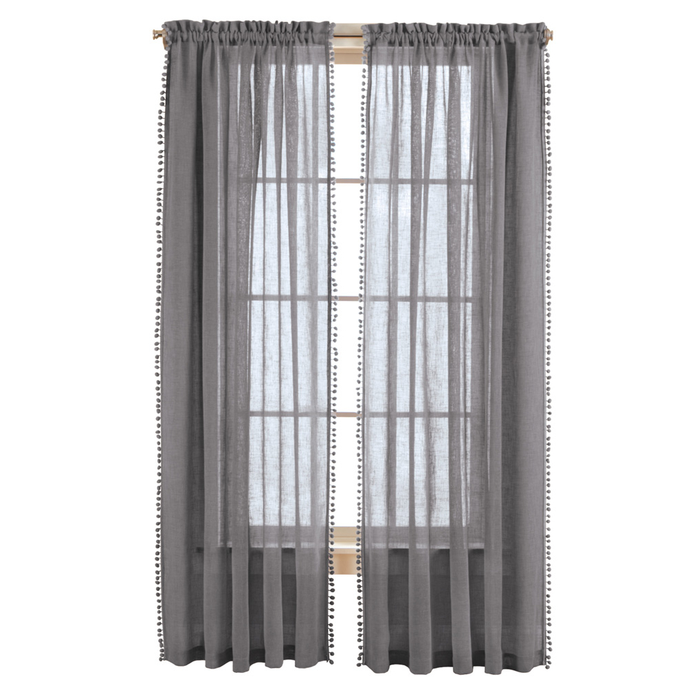 """Trendy Wallace Window Kitchen Curtain Tiers In Wallace Pom Pom Trim Linen Like Curtain Panel, 52""""x84"""", Grey (View 15 of 20)"""