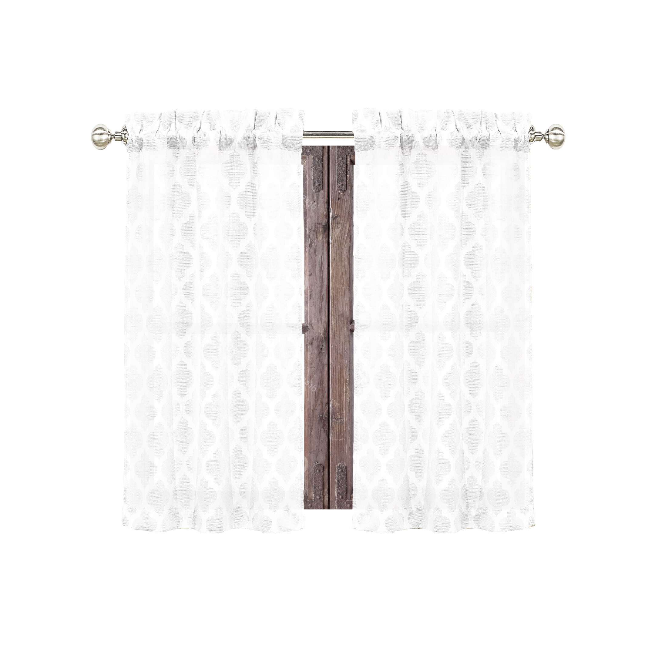 Trendy White 2 Piece Curtain Café Tier Set Textured Moroccan Within Elegant White Priscilla Lace Kitchen Curtain Pieces (View 11 of 20)