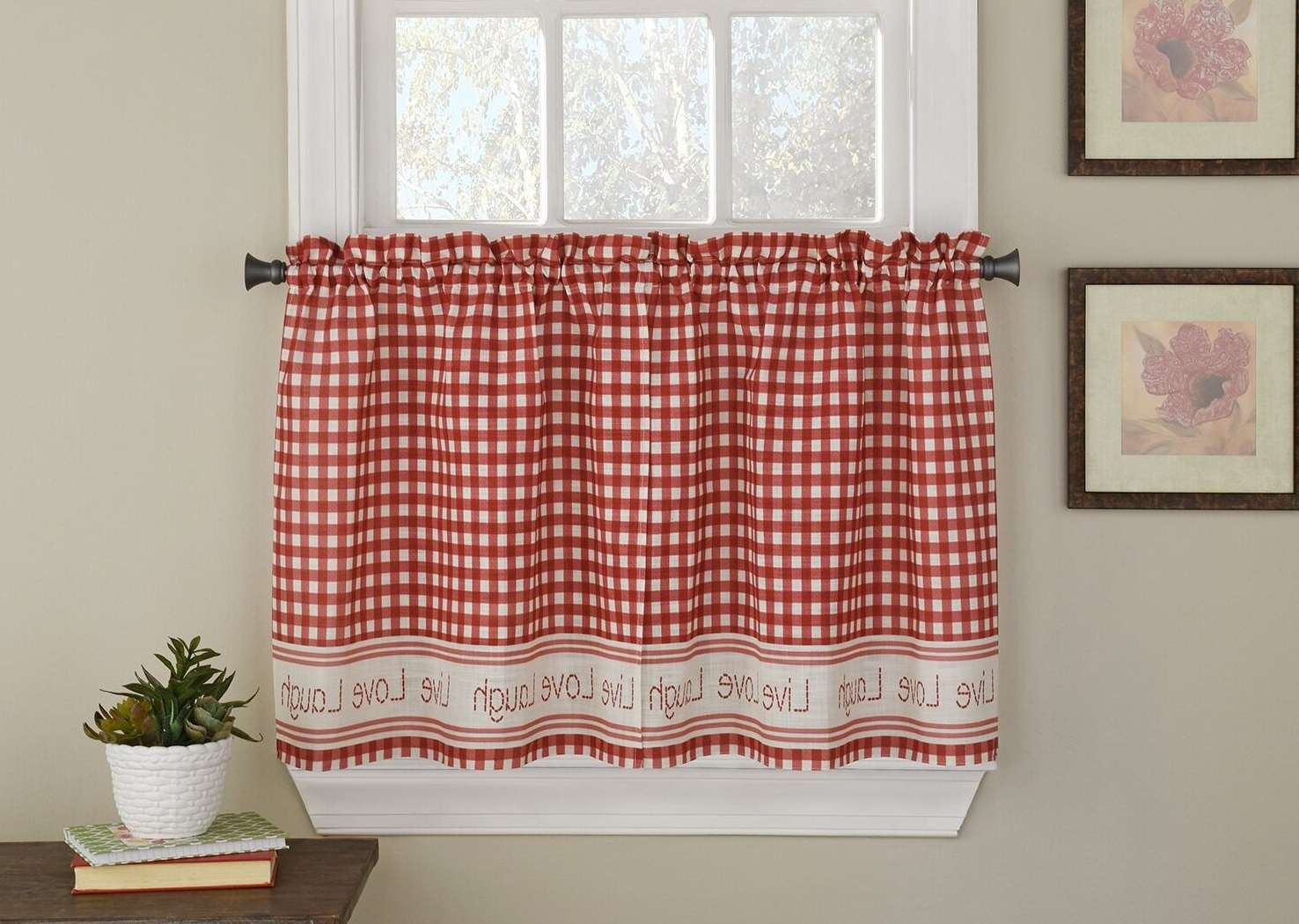 Turley Live Laugh Love Checkered Tier Pair Cafe Curtain Within Newest Live, Love, Laugh Window Curtain Tier Pair And Valance Sets (View 10 of 20)
