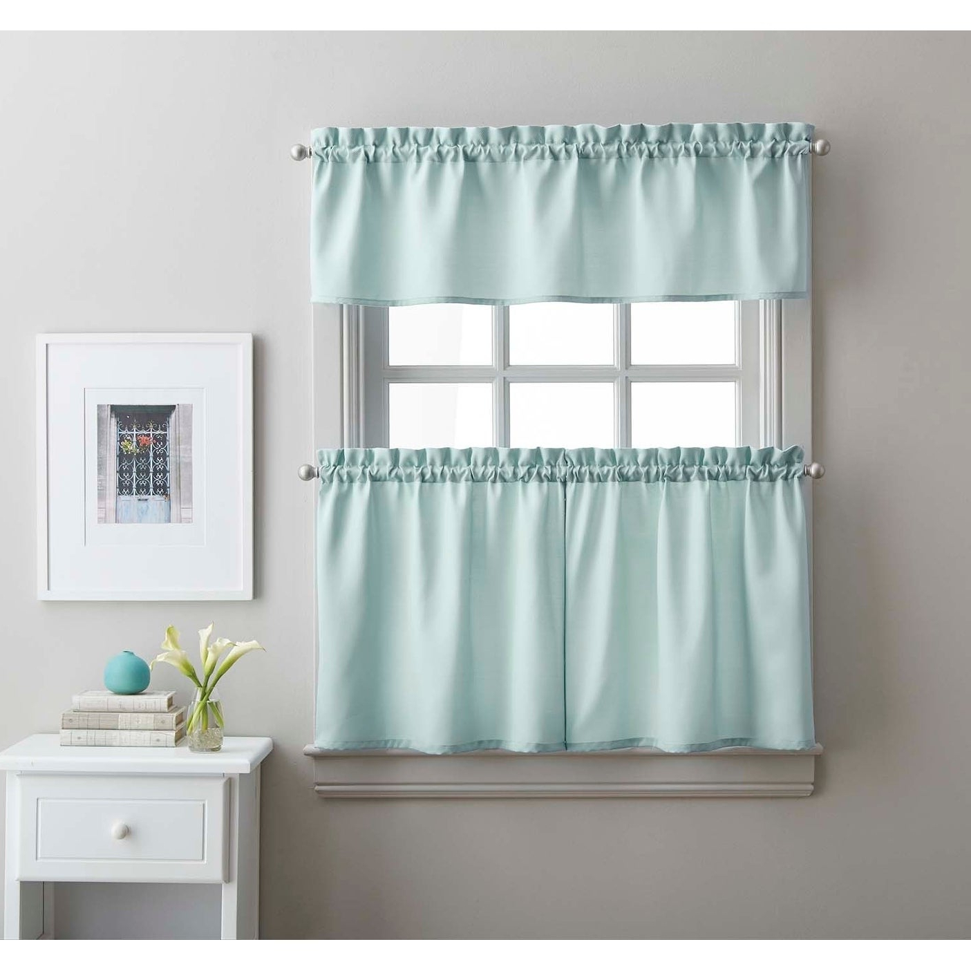 Twill 3 Piece Kitchen Curtain Tier Set In Preferred Solid Microfiber 3 Piece Kitchen Curtain Valance And Tiers Sets (View 3 of 20)
