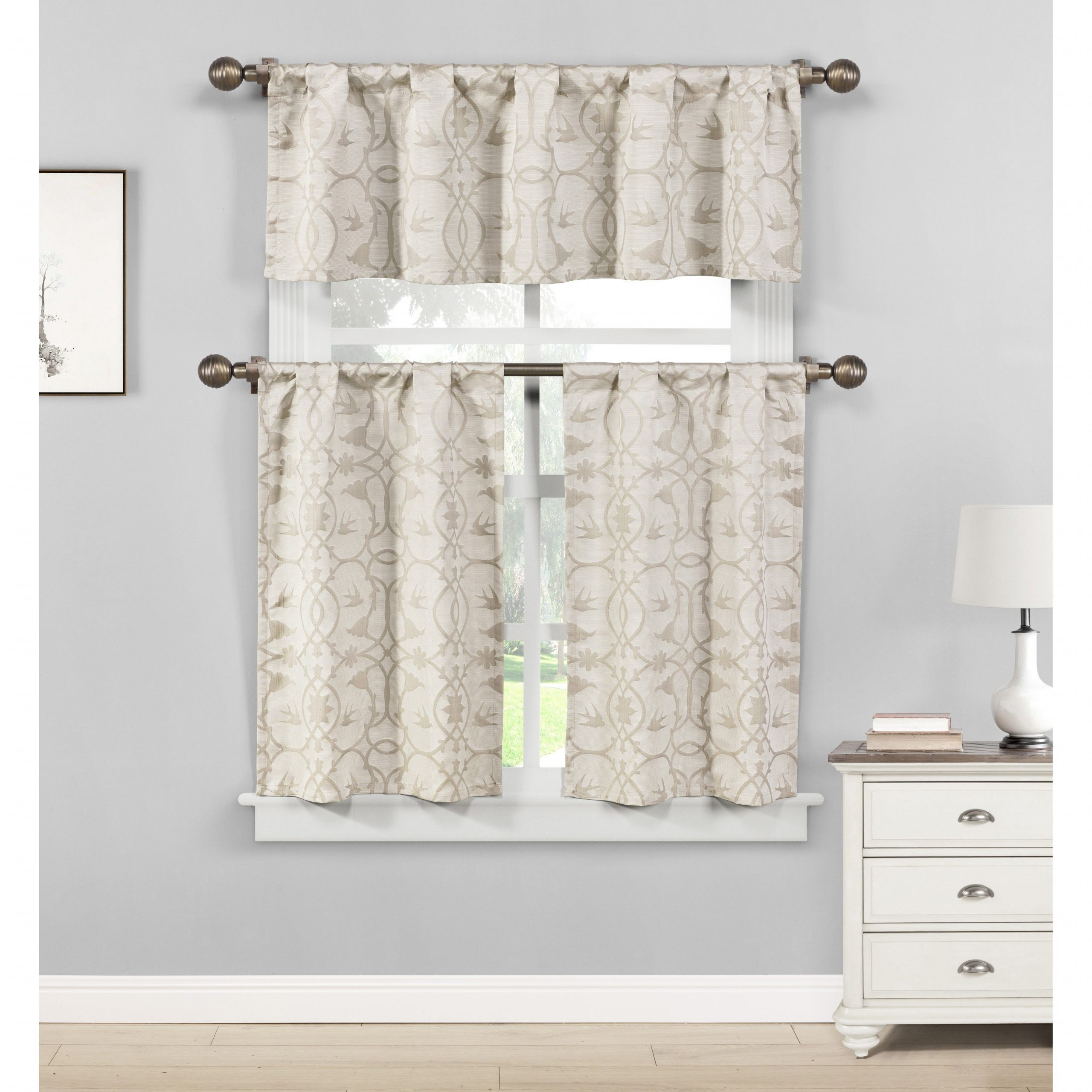 Twill 3 Piece Kitchen Curtain Tier Sets For Most Recent Duck River Dawn Birds Linen Look Jacquard 3 Piece Kitchen Curtain Tier (View 20 of 20)