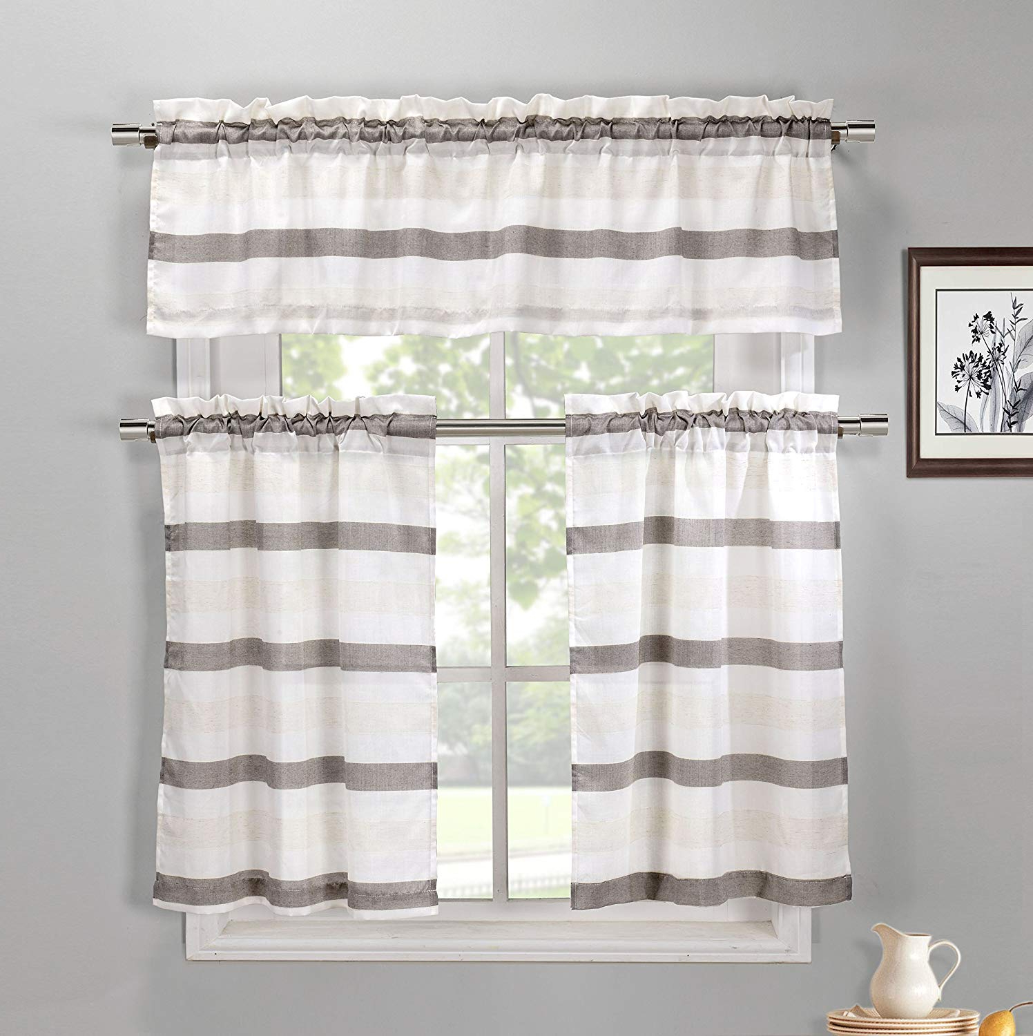 Twill 3 Piece Kitchen Curtain Tier Sets Throughout Newest Taupe, Ivory And Beige 3 Piece Kitchen Window Curtain Set: Natural Linen Blend, 1 Valance, 2 Tiers (View 5 of 20)