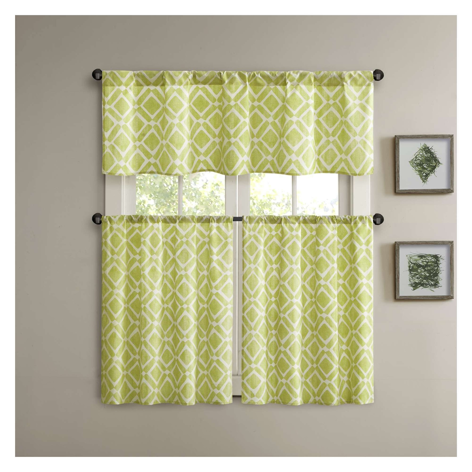 "Twill 3 Piece Kitchen Curtain Tier Sets Throughout Well Known Natalie Printed Diamond Kitchen Tier Green (60x24""), Size (View 10 of 20)"