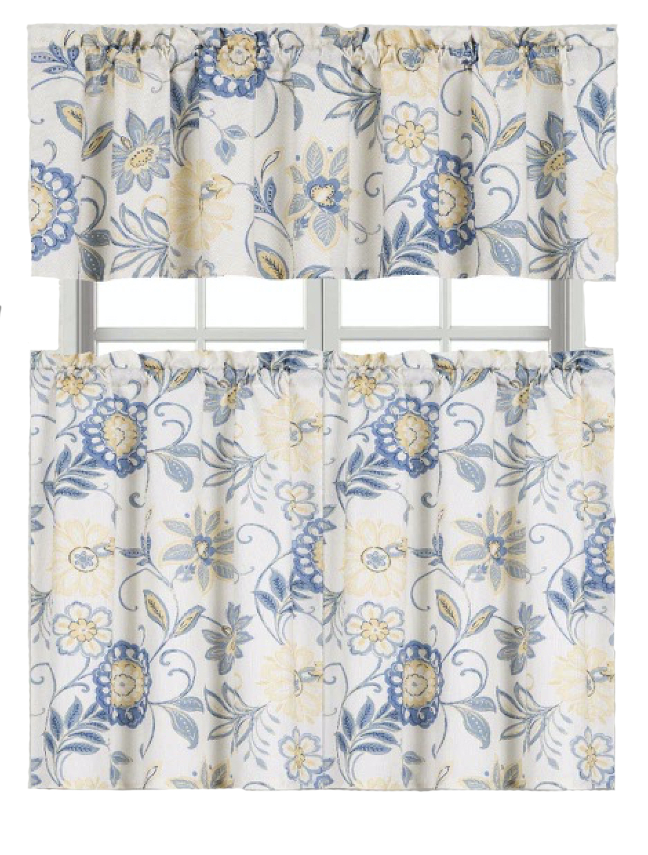 Ultra Luxurious Palm Beach Floral Shabby Kitchen Curtain Tier & Valance Set Goodgram Intended For Current Coastal Tier And Valance Window Curtain Sets (View 15 of 20)