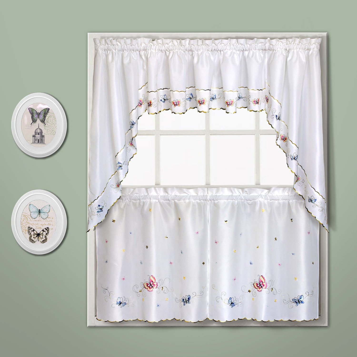 """United Curtain Butterfly Embroidered Valance, 52"""" X 14"""", Multi In Well Liked Fluttering Butterfly White Embroidered Tier, Swag, Or Valance Kitchen Curtains (View 4 of 20)"""