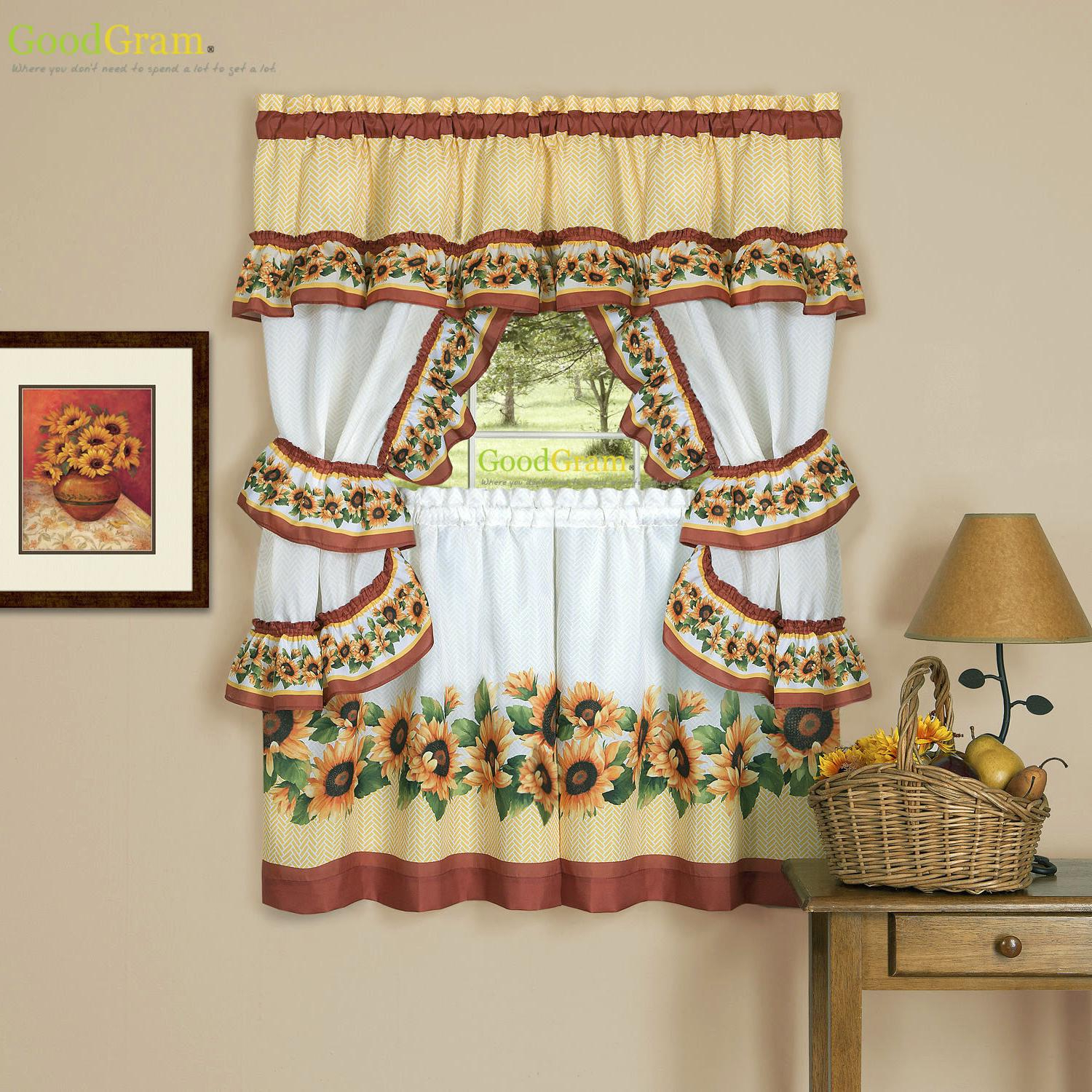 Urban Embroidered Tier And Valance Kitchen Curtain Tier Sets Inside Popular Chevron Sunflower Complete Cottage Kitchen Curtain Set (View 11 of 20)