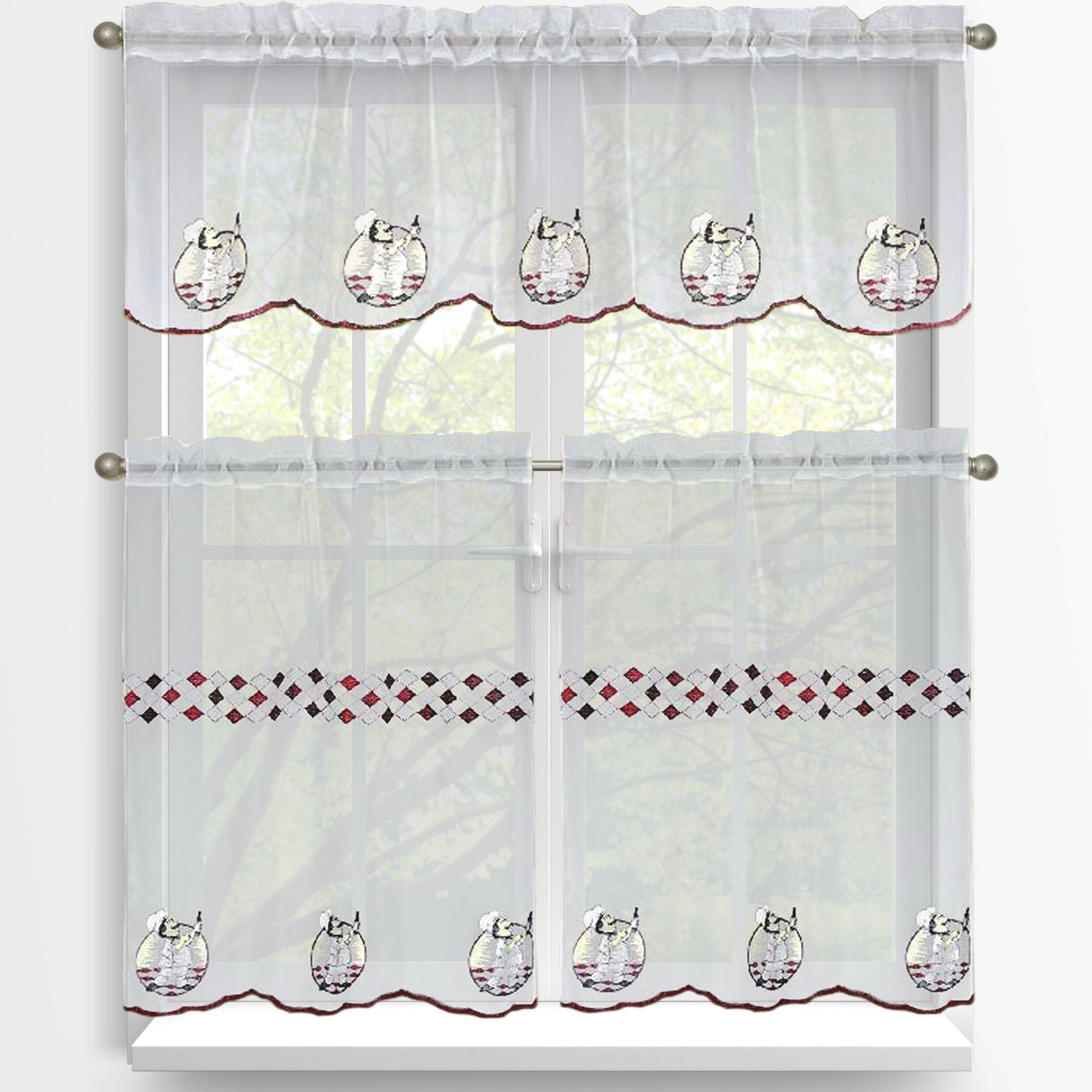 Urban Embroidered Tier And Valance Kitchen Curtain Tier Sets Regarding Latest Crandon 3 Piece Embroidered Kitchen Tier And Valance Set (View 16 of 20)