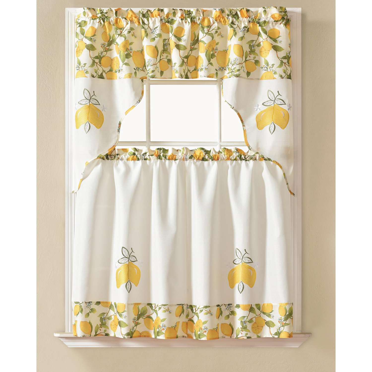 Featured Photo of Urban Embroidered Tier And Valance Kitchen Curtain Tier Sets