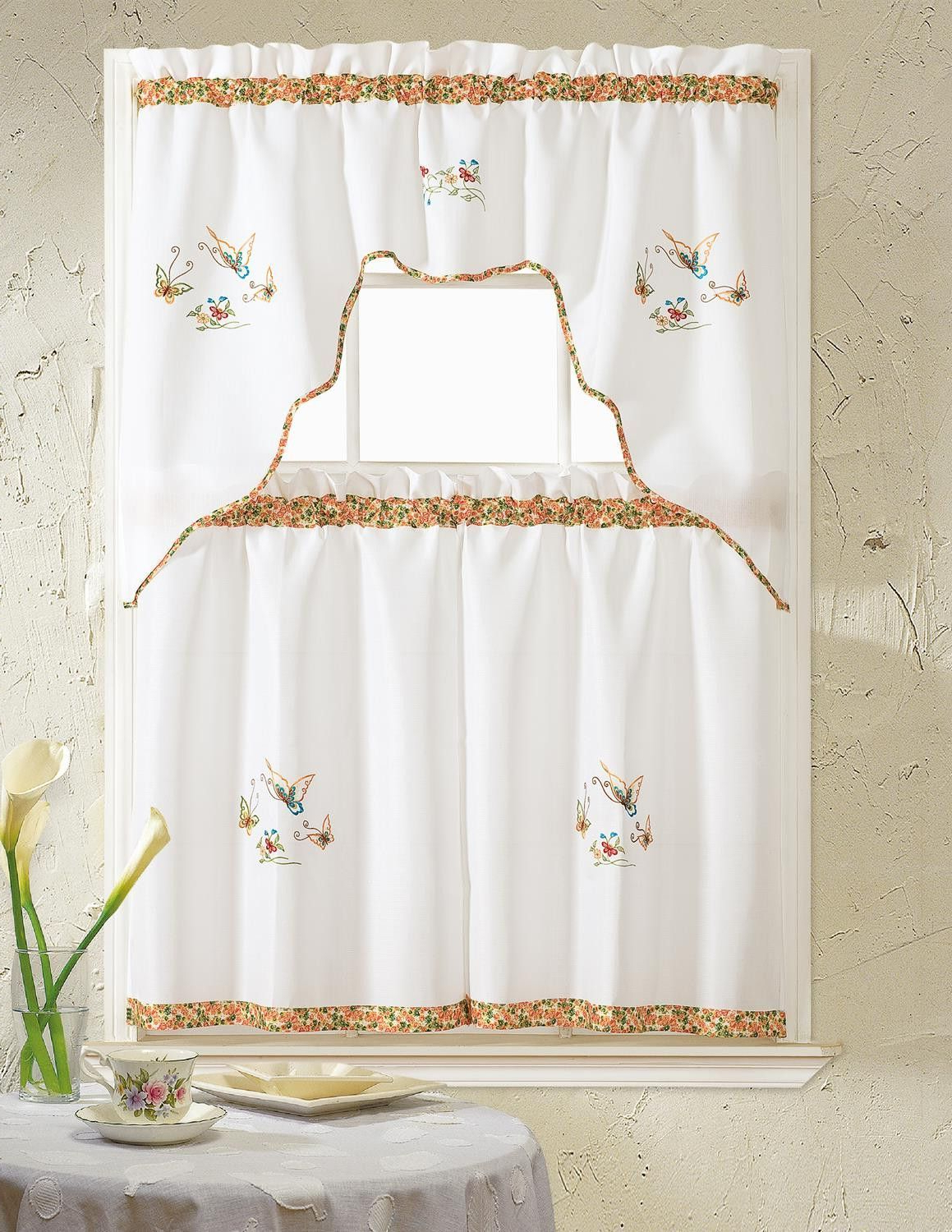Urban Embroidered Tier And Valance Kitchen Curtain Tier Sets Within 2020 Grand Butterfly Embroidered Ruffle Kitchen Curtain Set (View 13 of 20)