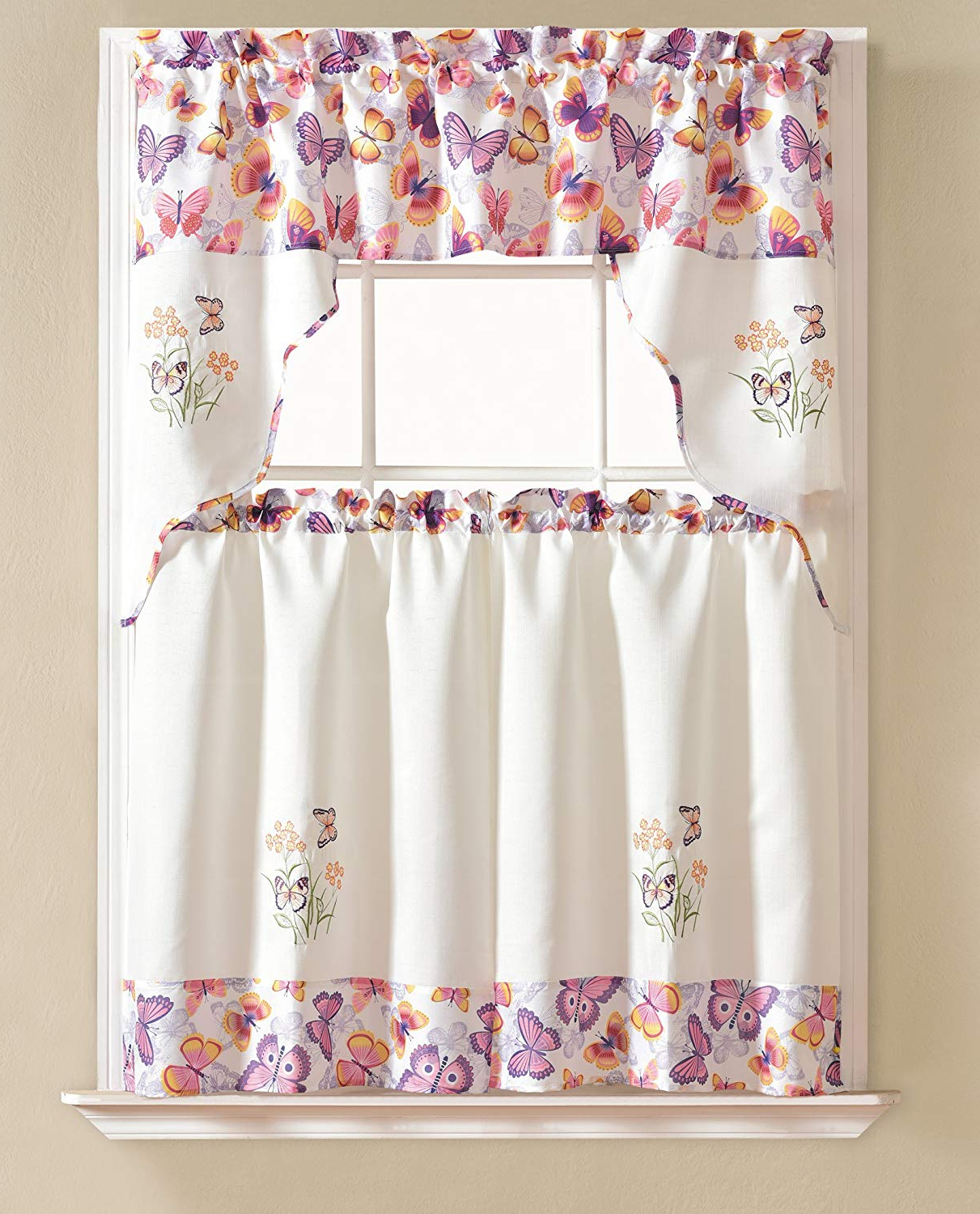 Urban Embroidered Tier And Valance Kitchen Curtain Tier Sets Within Current Rt Designers Collection Urban Embroidered Tier And Valance Kitchen Curtain Set, Butterfly (View 4 of 20)