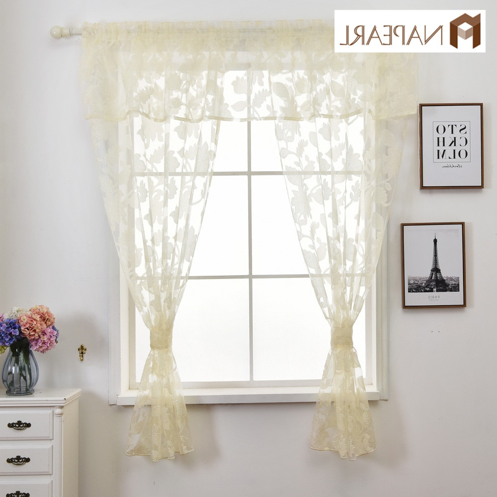 [%Us $17.37 52% Off|Napearl Floral Leaves Jacquard Short Tulle Drops Valance  Set Kitchen Windows With Ropes Cream Color Rustic Style Fabric Circle In Pertaining To Preferred Circle Curtain Valances|Circle Curtain Valances Intended For Most Current Us $17.37 52% Off|Napearl Floral Leaves Jacquard Short Tulle Drops Valance  Set Kitchen Windows With Ropes Cream Color Rustic Style Fabric Circle In|Famous Circle Curtain Valances For Us $17.37 52% Off|Napearl Floral Leaves Jacquard Short Tulle Drops Valance  Set Kitchen Windows With Ropes Cream Color Rustic Style Fabric Circle In|Fashionable Us $ (View 2 of 20)