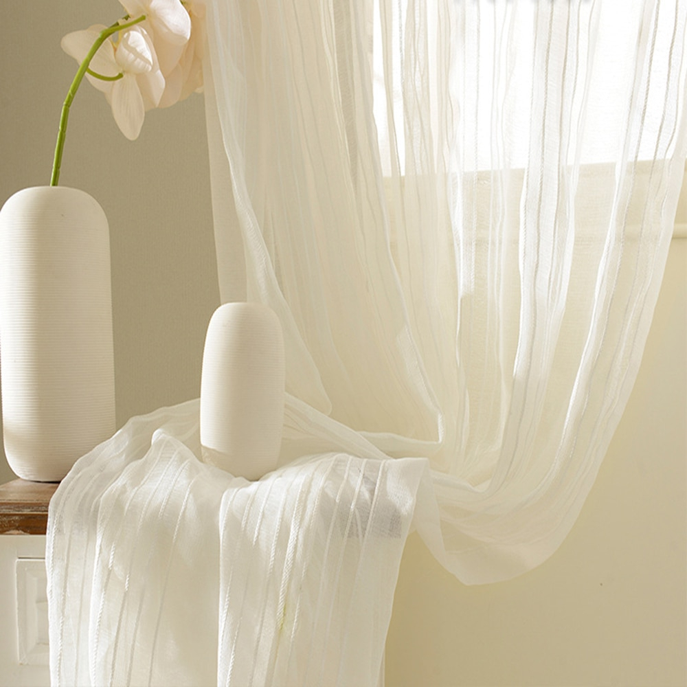 [%us $6.7 20% Off|modern Style Vertical Stripes Sheer Voile Curtains For Living Room Solid White Window Treatment Draperies Curtain Tulle Wp277&2 In Pertaining To 2021 Ivory Micro Striped Semi Sheer Window Curtain Pieces|ivory Micro Striped Semi Sheer Window Curtain Pieces Throughout Preferred Us $6.7 20% Off|modern Style Vertical Stripes Sheer Voile Curtains For Living Room Solid White Window Treatment Draperies Curtain Tulle Wp277&2 In|recent Ivory Micro Striped Semi Sheer Window Curtain Pieces Regarding Us $6.7 20% Off|modern Style Vertical Stripes Sheer Voile Curtains For Living Room Solid White Window Treatment Draperies Curtain Tulle Wp277&2 In|well Known Us $ (View 14 of 20)